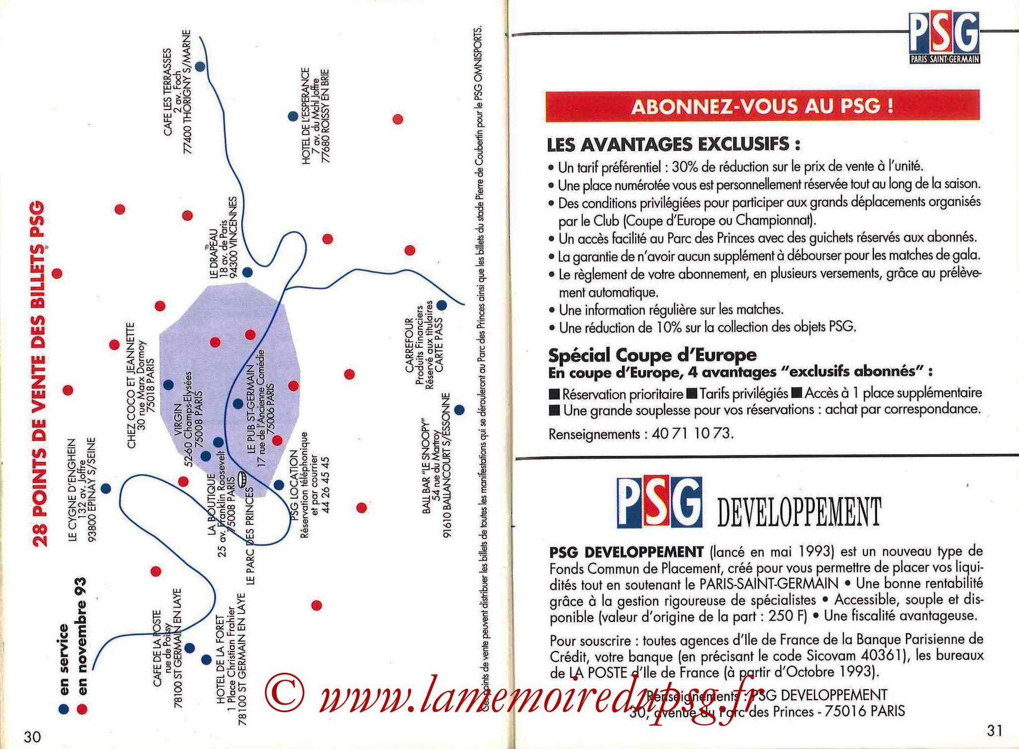 1993-94 - Guide de la Saison PSG - Pages 30 et 31