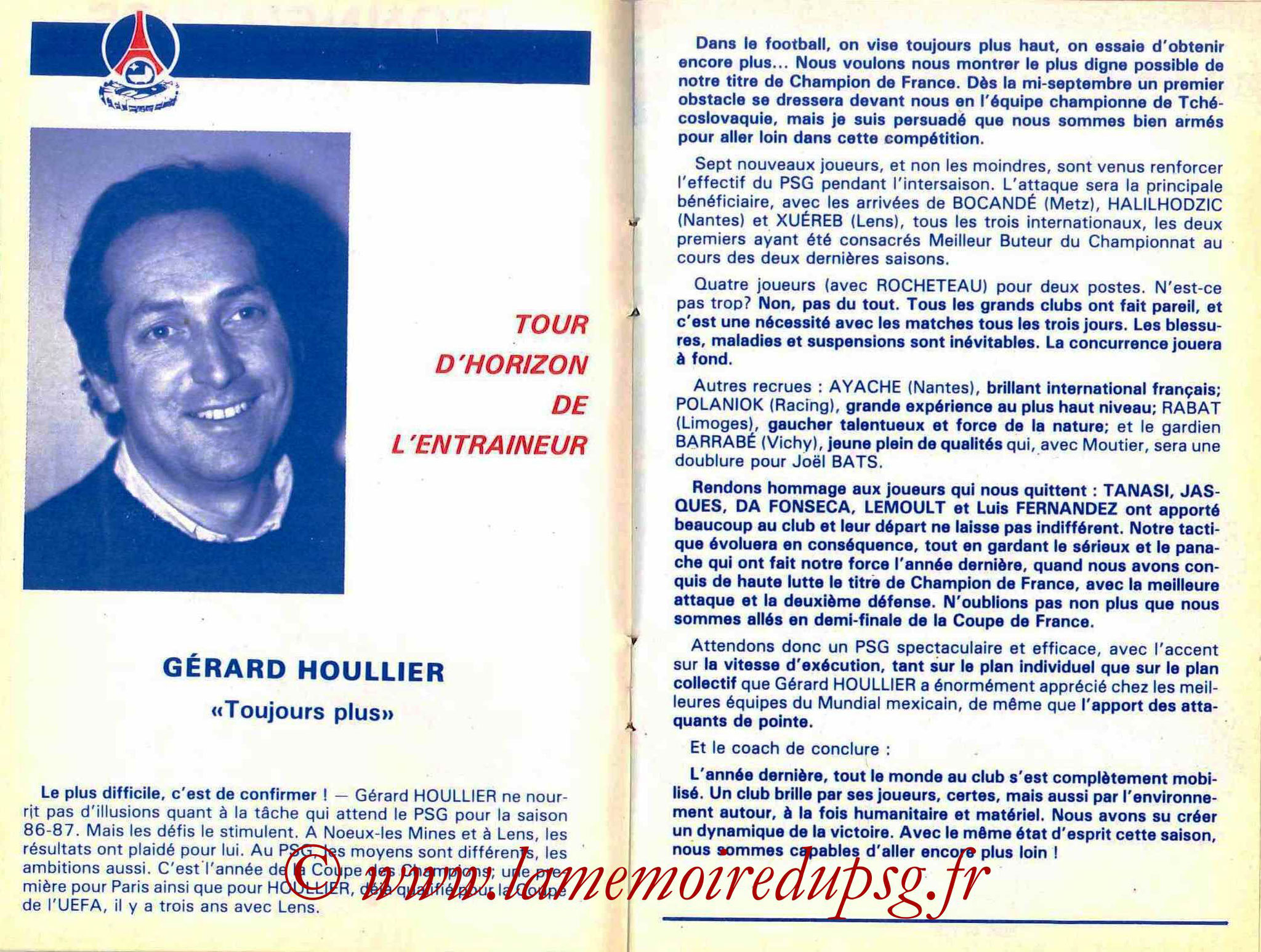 1986-87 - Guide de la Saison PSG - Pages 16 et 17