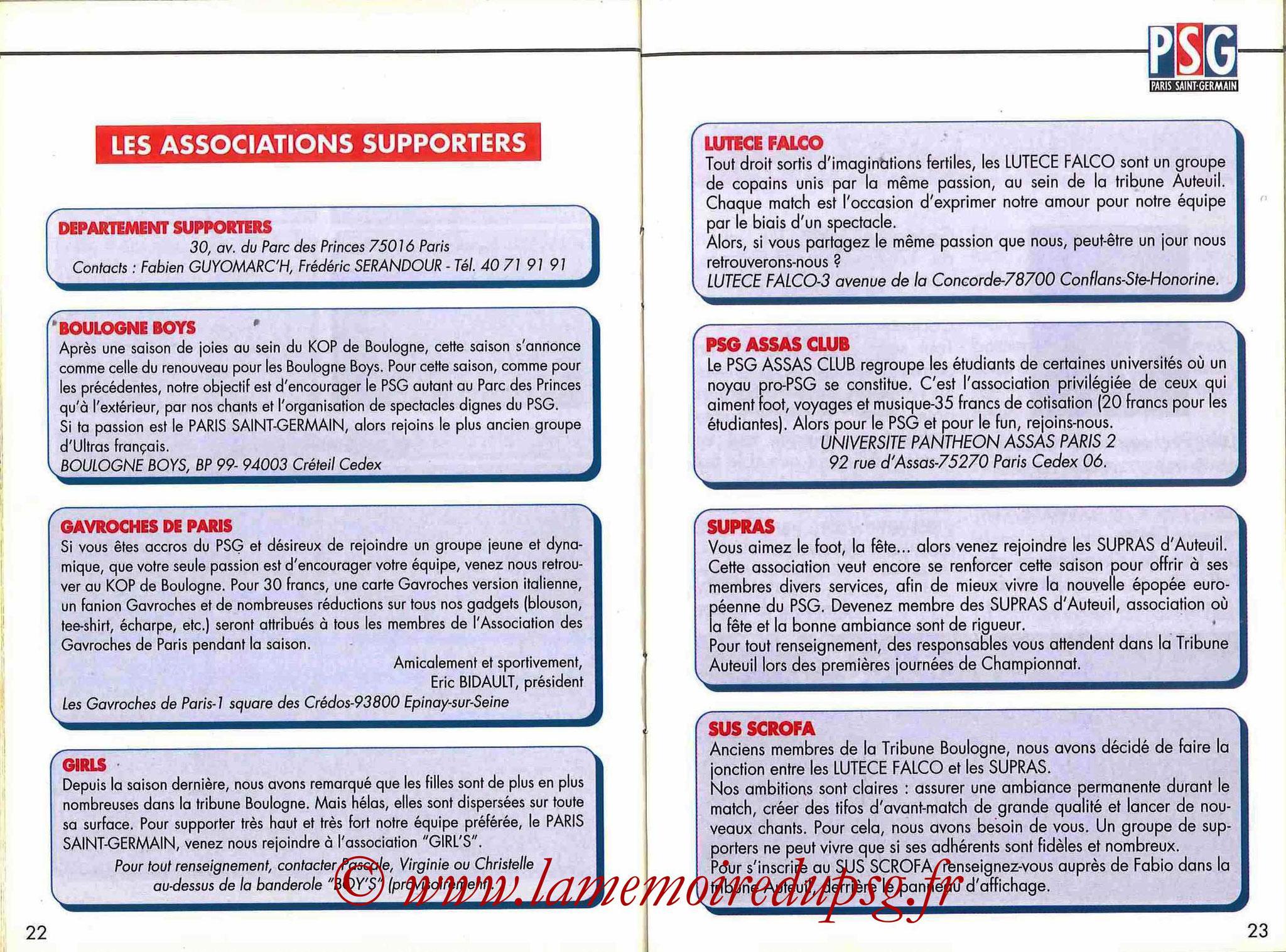 1993-94 - Guide de la Saison PSG - Pages 22 et 23