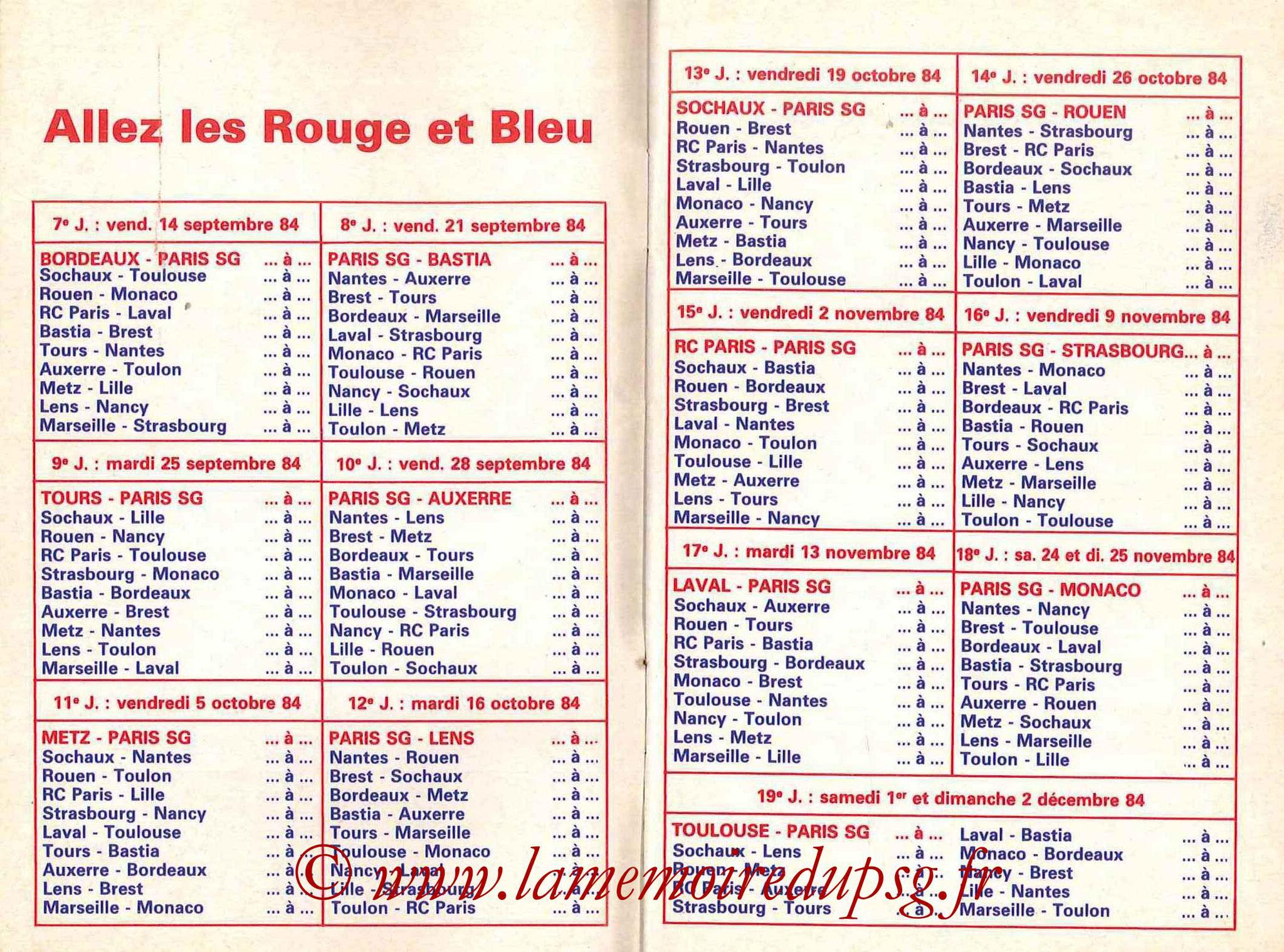 1984-85 - Guide de la Saison PSG - Pages 6 et 7
