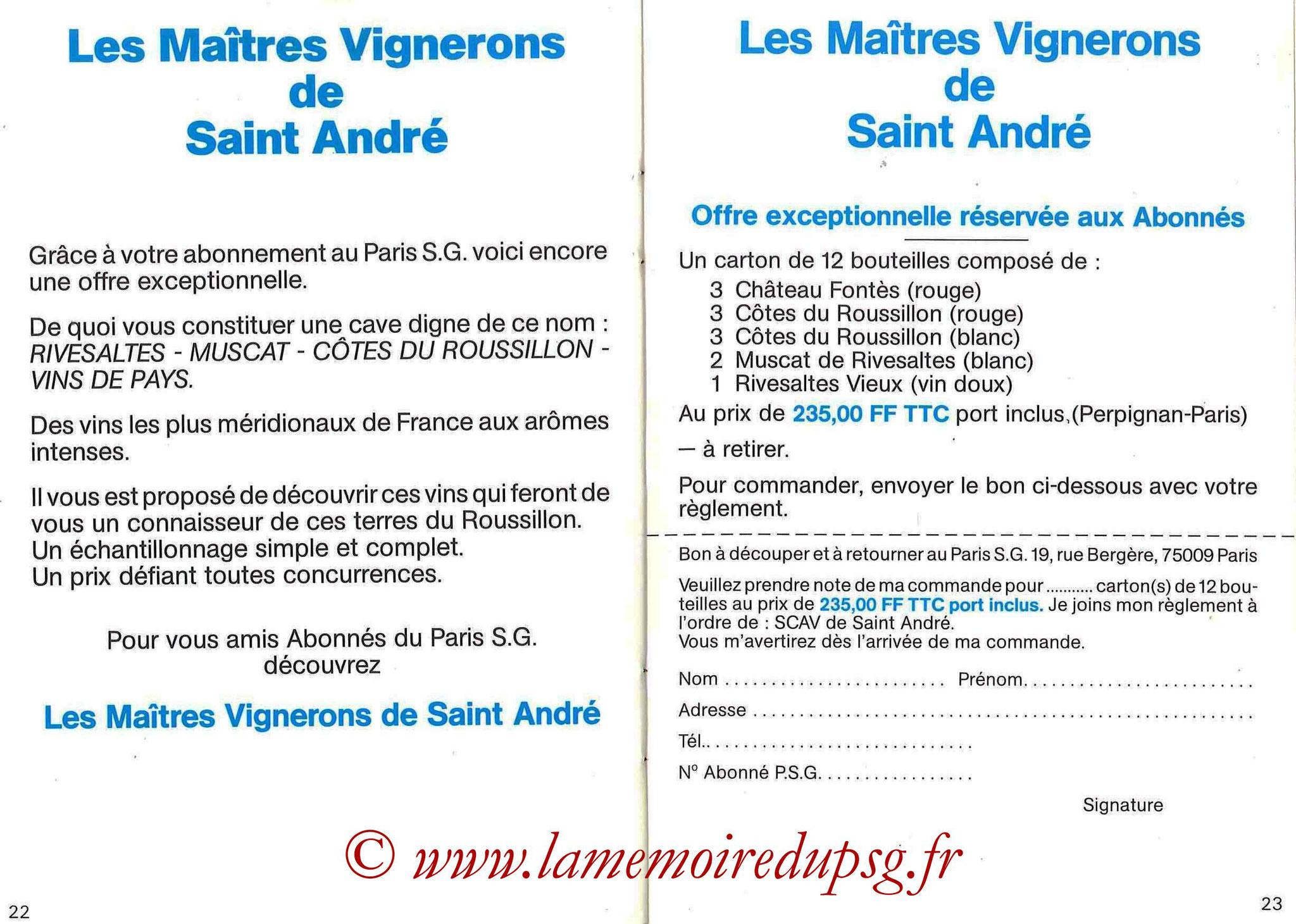 1987-88 - Passeport Abonné du PSG - Pages 22 et 23