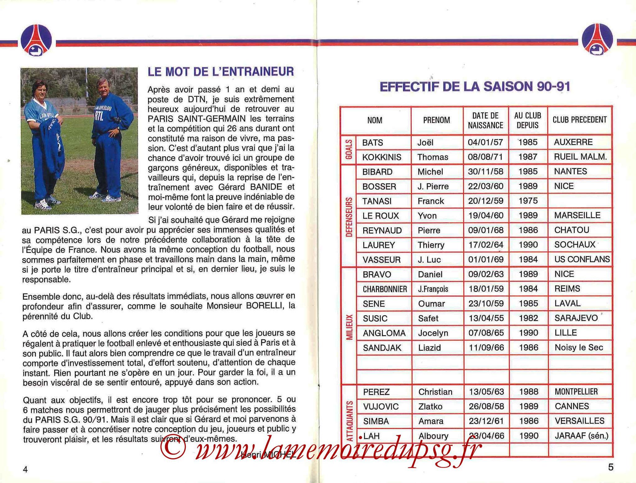 1990-91 - Guide de la Saison PSG - Pages 4 et 5