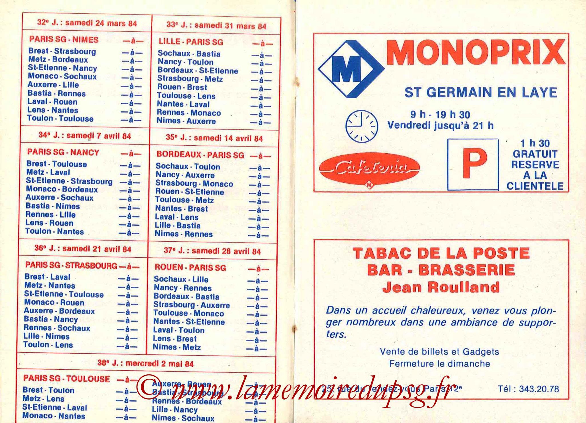 1983-84 - Guide de la Saison PSG - Pages 10 et 11