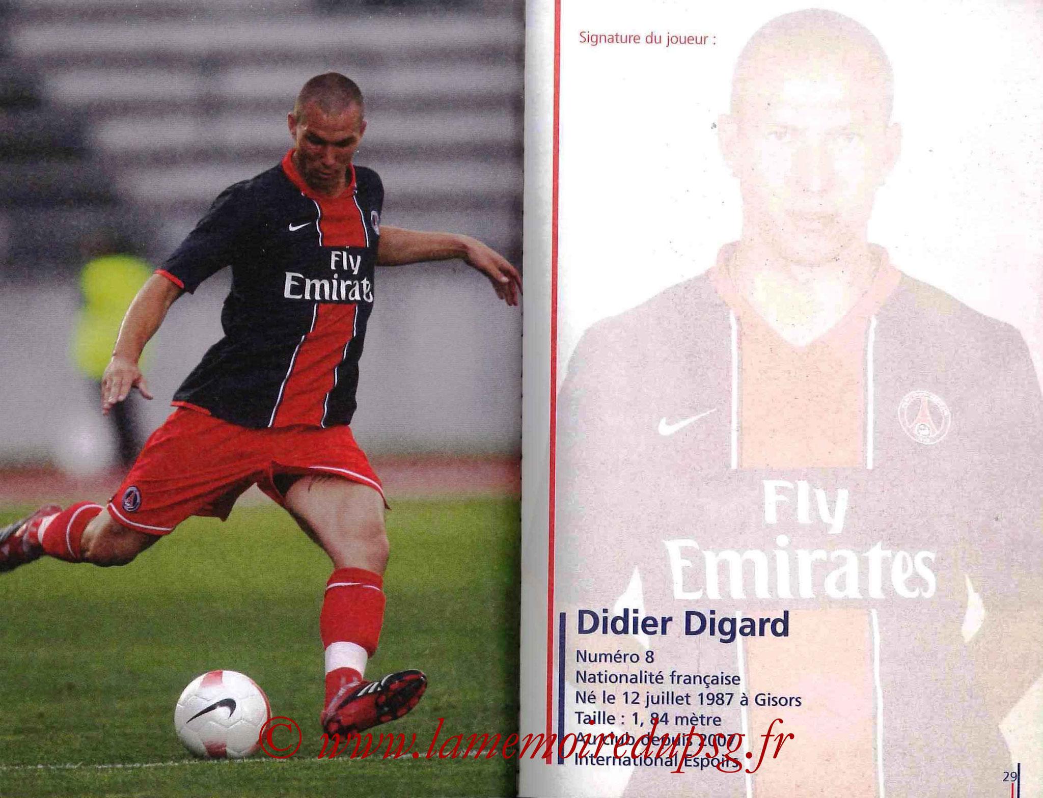 2007-08 - Guide de la Saison PSG - Pages 28 et 29 - Didier DIGARD