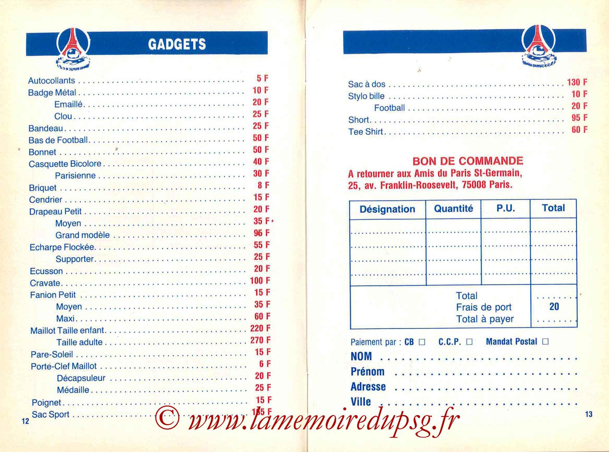 1988-89 - Guide de la Saison PSG - Pages 12 et 13
