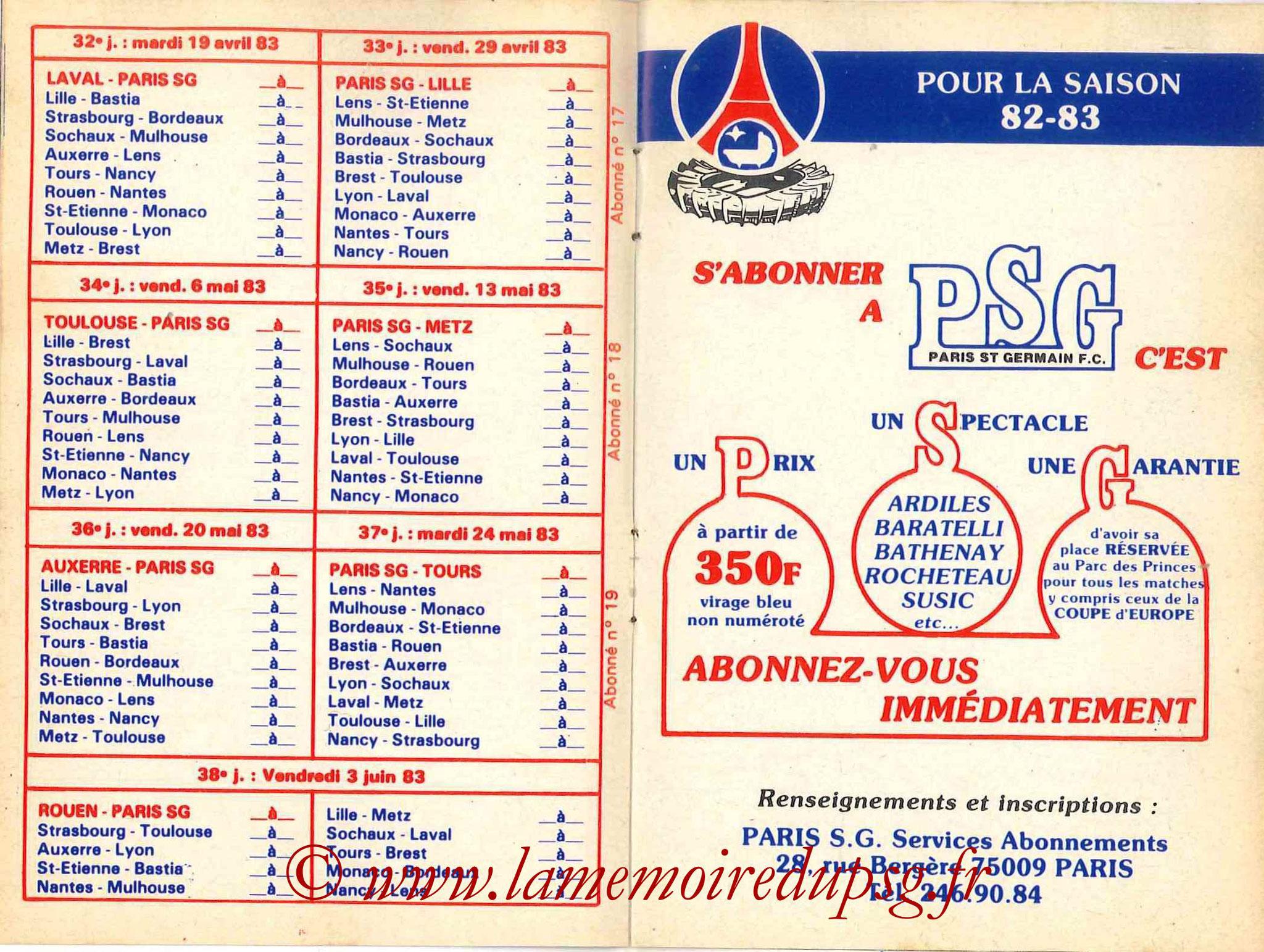 1982-83 - Guide de la Saison PSG - Pages 10 et 11