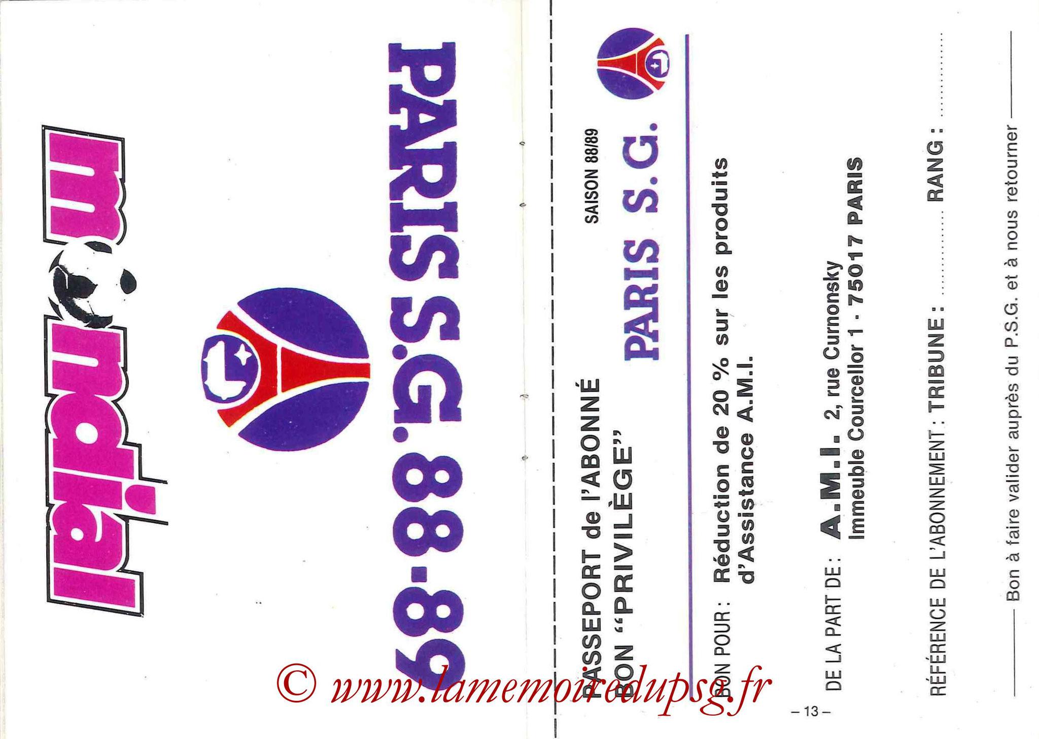 1988-89 - Passeport Abonné du PSG - Pages 12 et 13