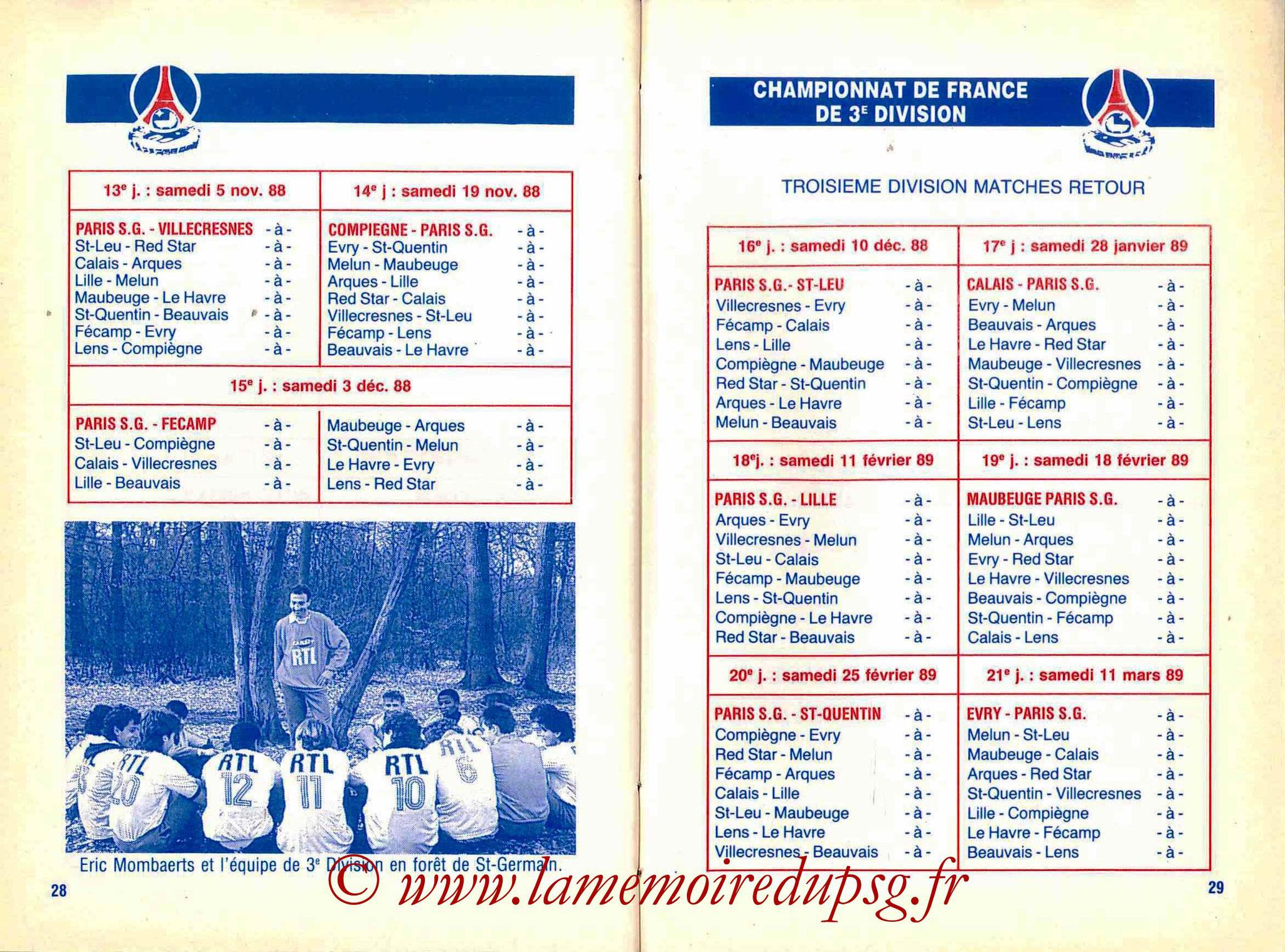 1988-89 - Guide de la Saison PSG - Pages 28 et 29