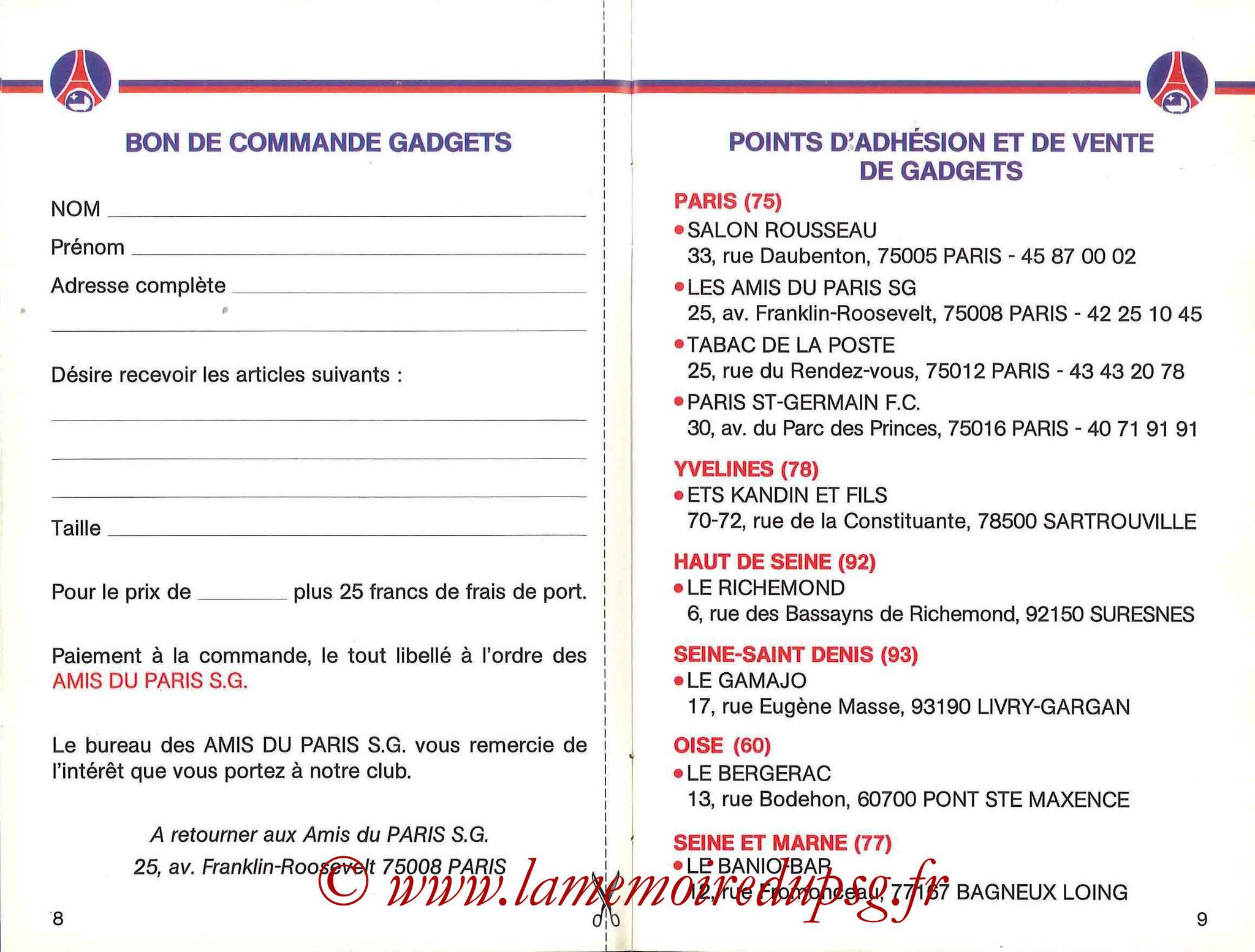 1990-91 - Guide de la Saison PSG - Pages 8 et 9