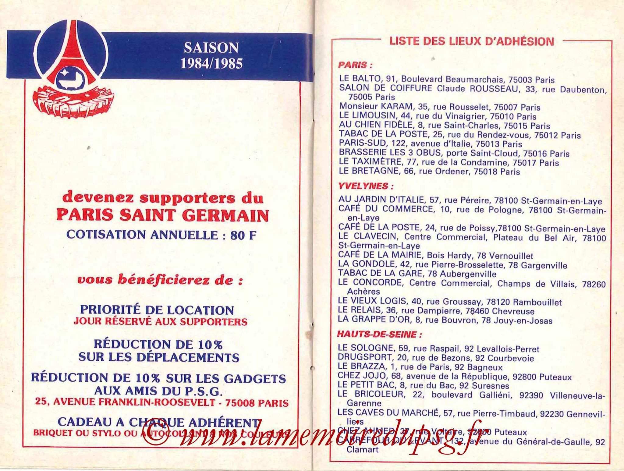 1984-85 - Guide de la Saison PSG - Pages 18 et 19