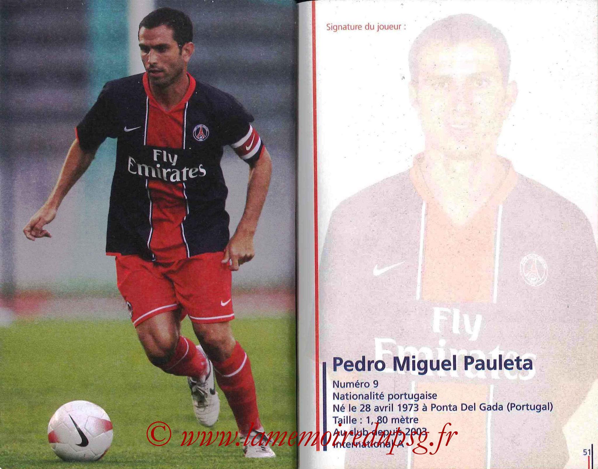 2007-08 - Guide de la Saison PSG - Pages 50 et 51 - Pedro Miguel PAULETA