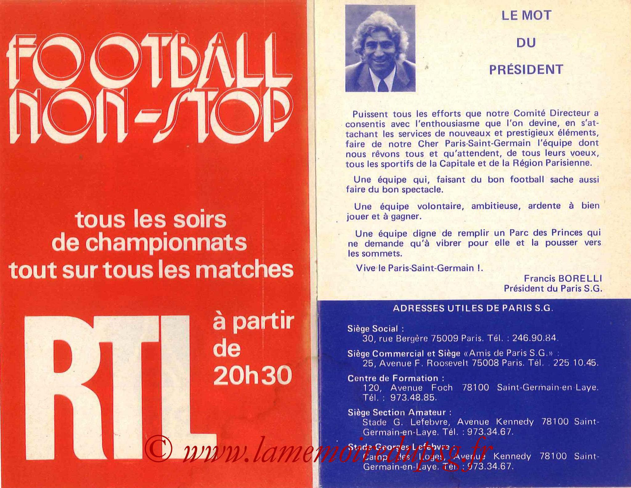1978-79 - Guide de la Saison PSG - Pages 2 et 3