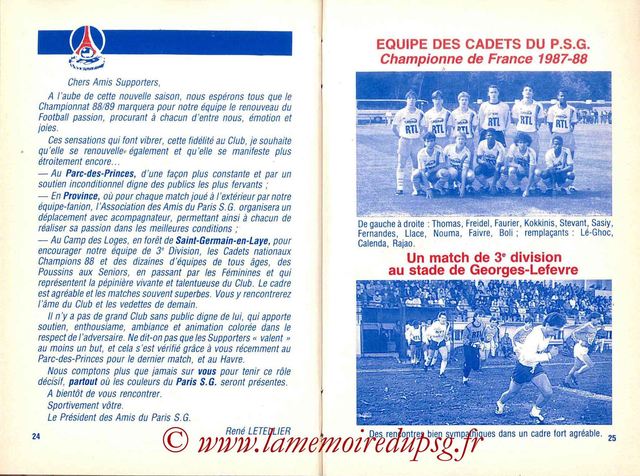 1988-89 - Guide de la Saison PSG - Pages 24 et 25