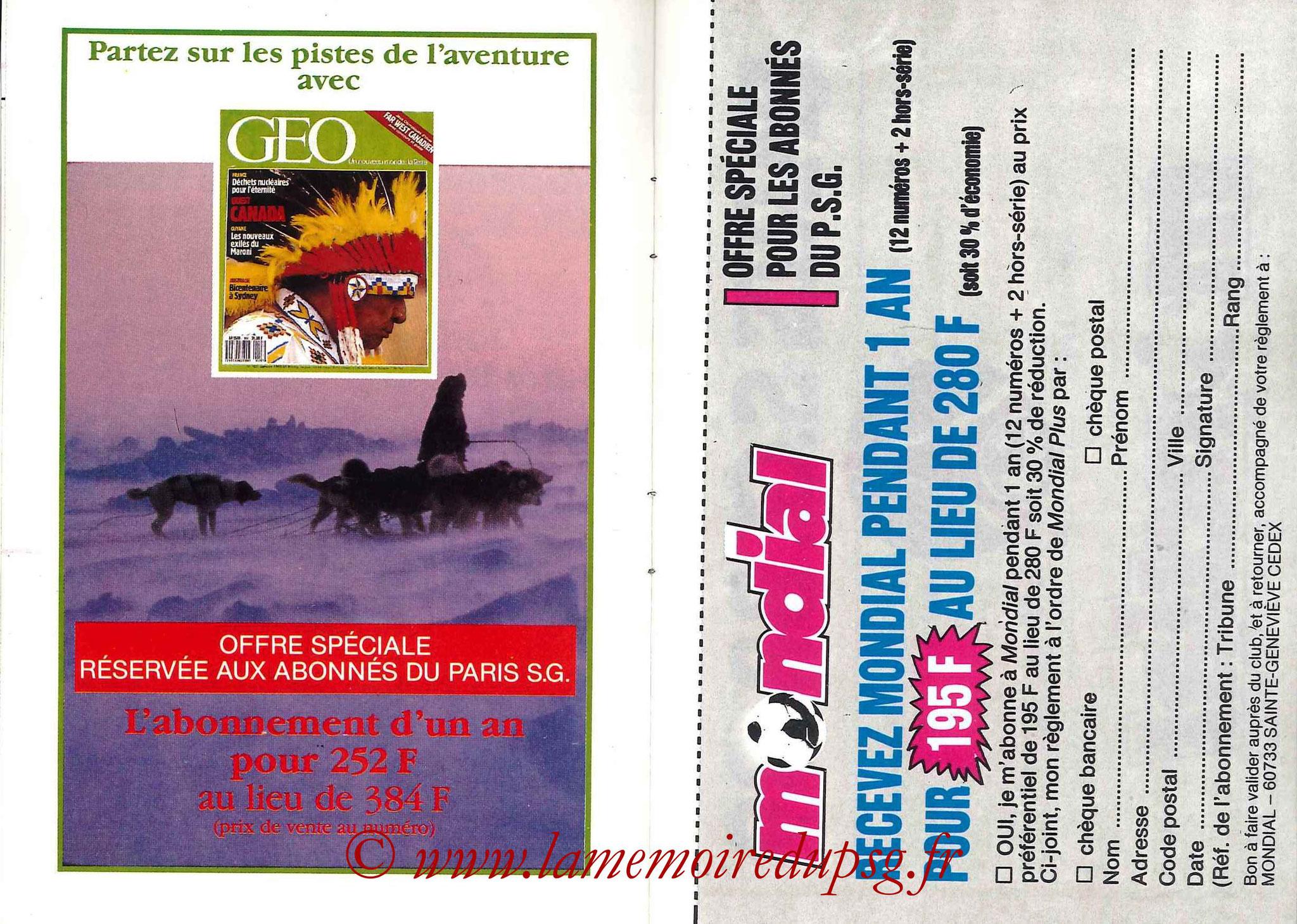 1988-89 - Passeport Abonné du PSG - Pages 10 et 11