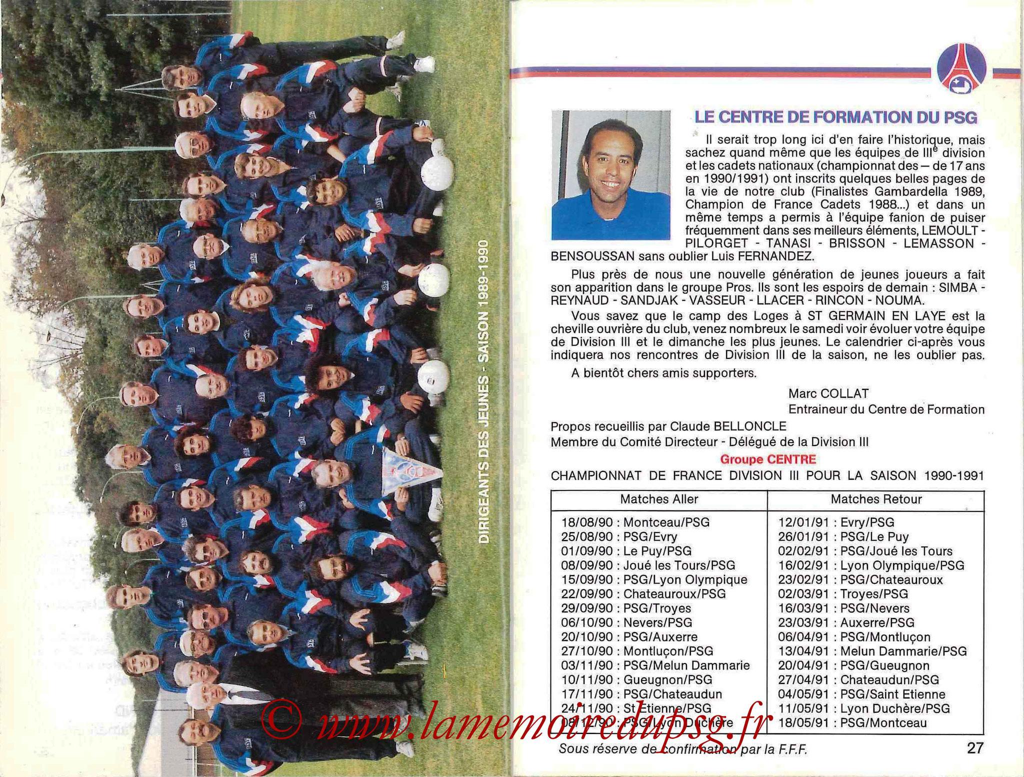 1990-91 - Guide de la Saison PSG - Pages 26 et 27