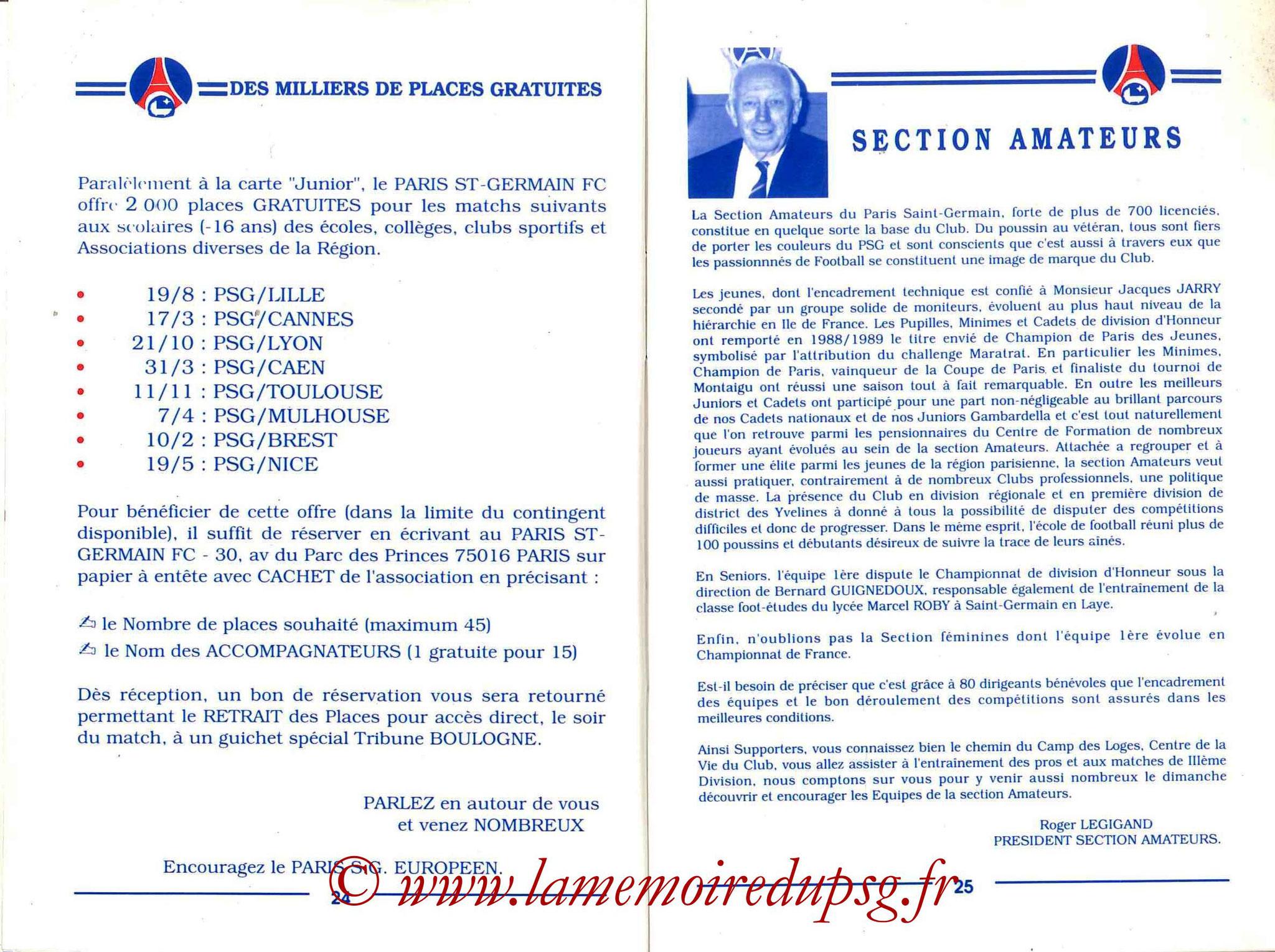 1989-90 - Guide de la Saison PSG - Pages 24 et 25