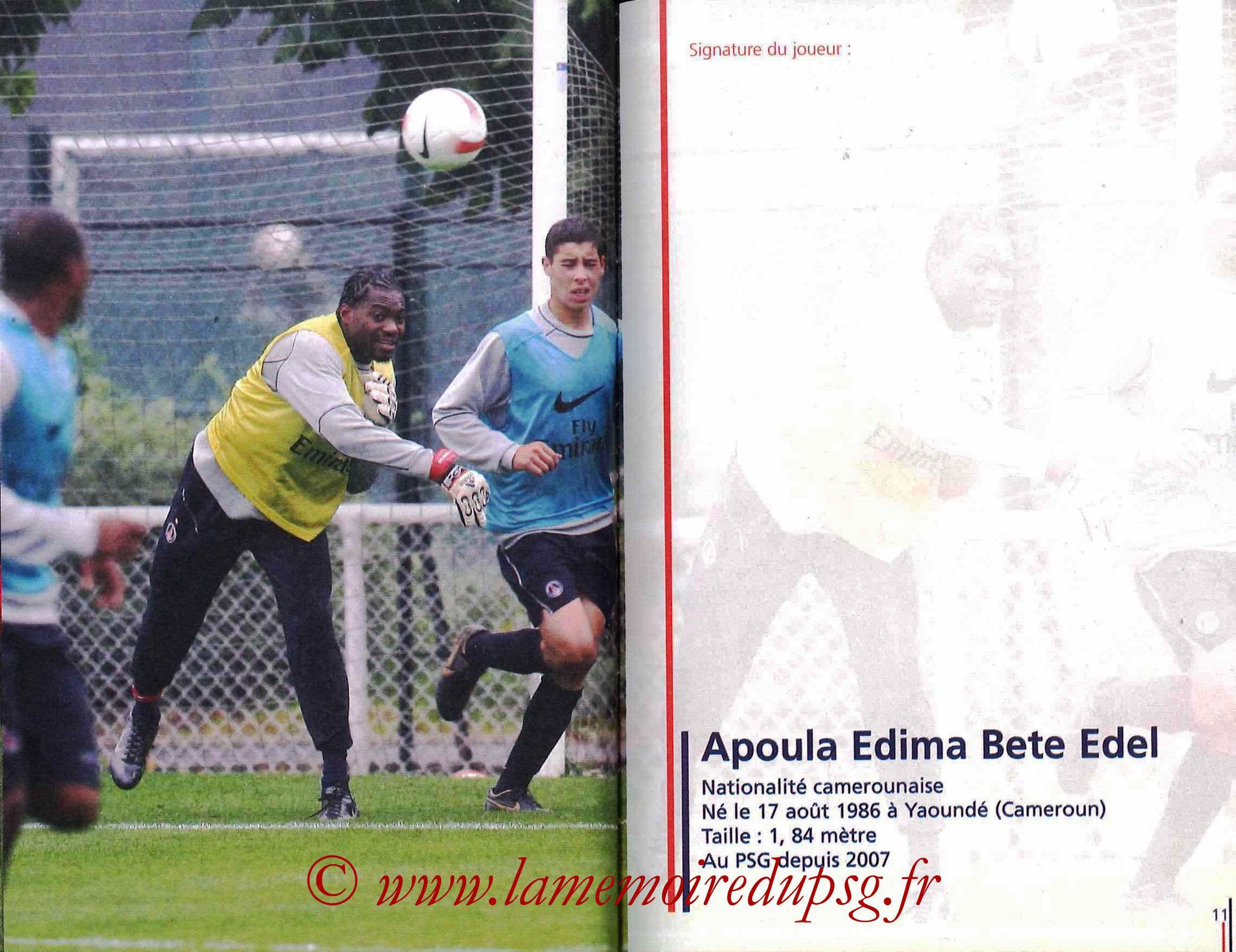 2007-08 - Guide de la Saison PSG - Pages 10 et 11 - Apoula EDEL
