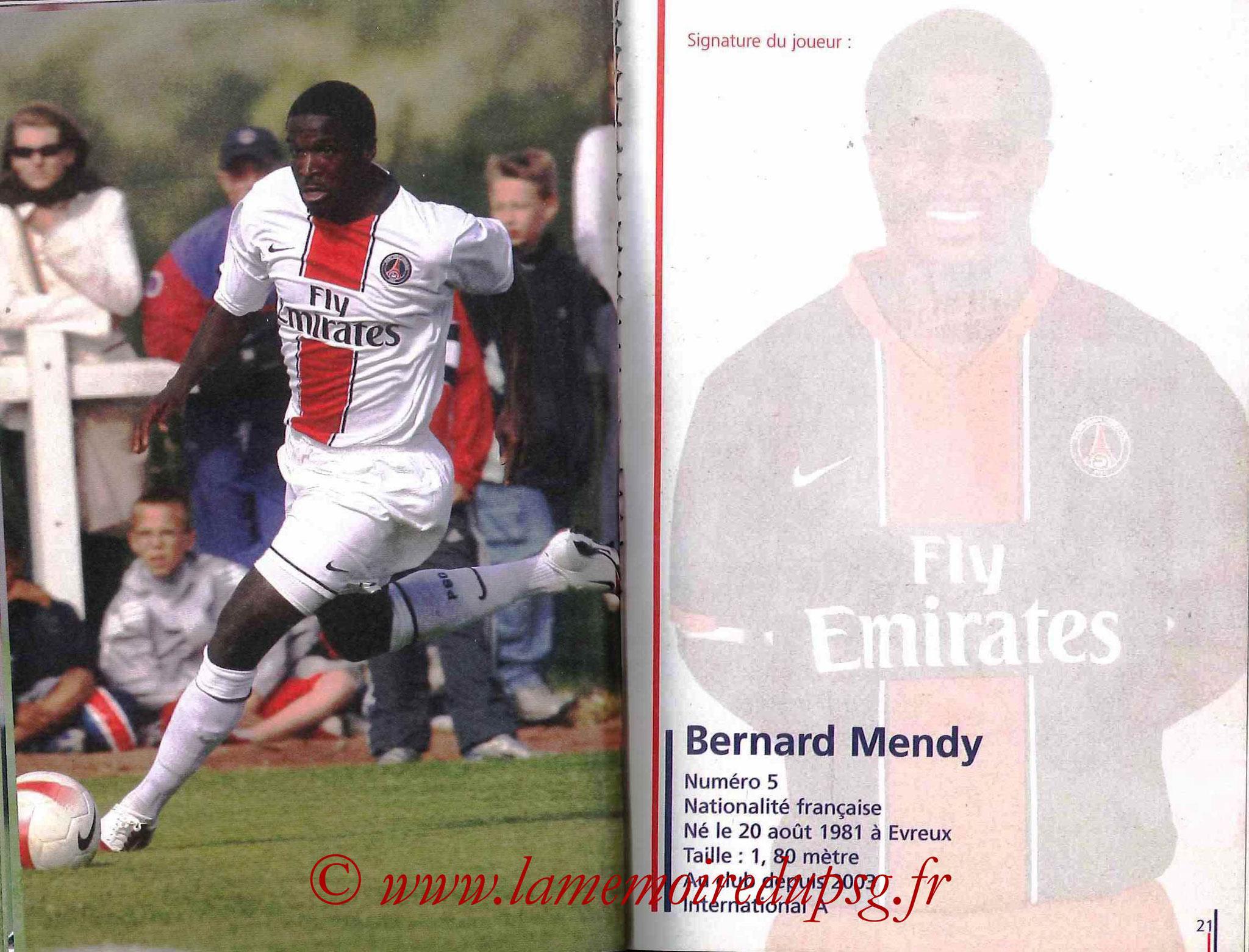 2007-08 - Guide de la Saison PSG - Pages 20 et 21 - Bernard MENDY
