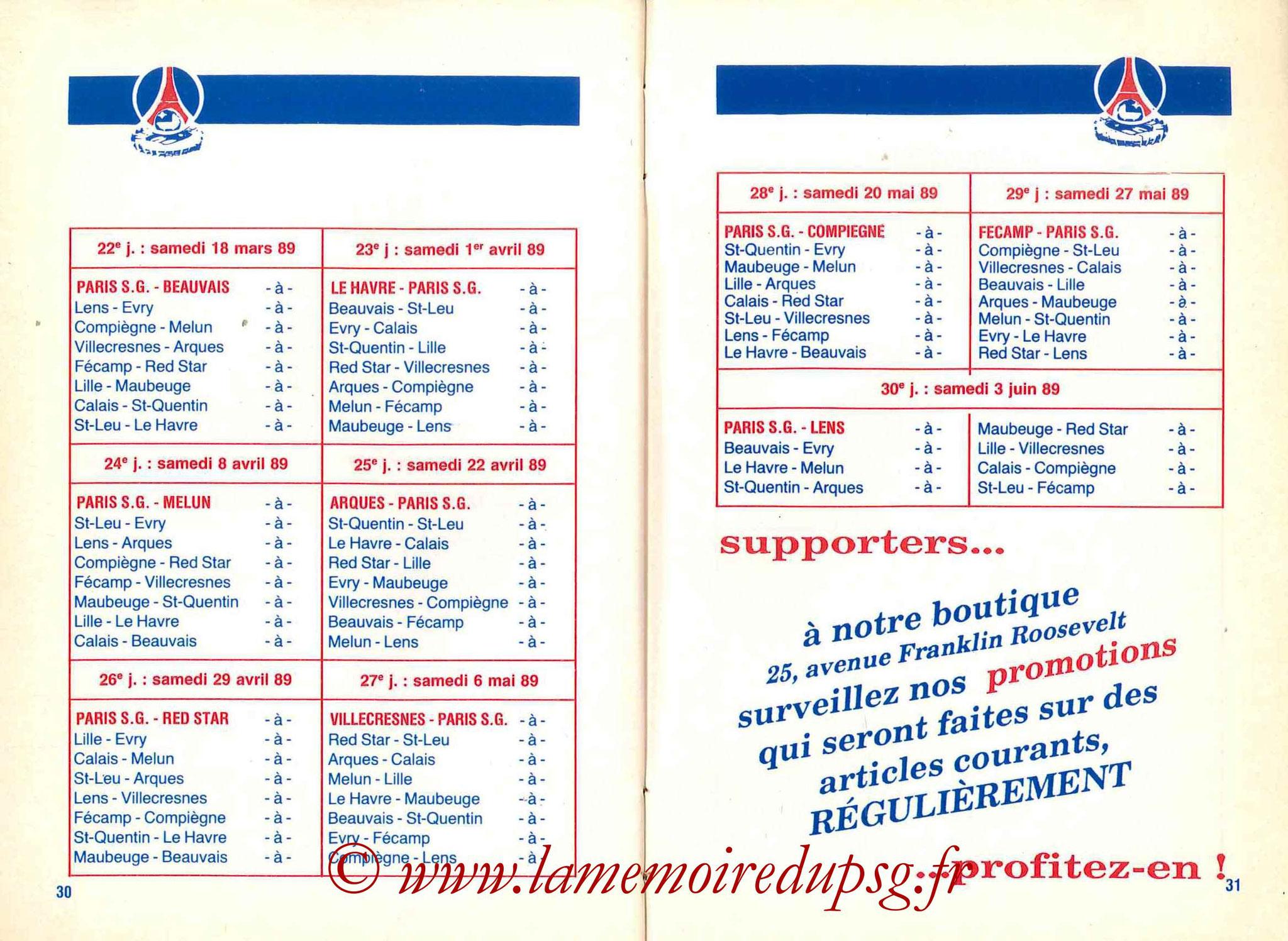 1988-89 - Guide de la Saison PSG - Pages 30 et 31
