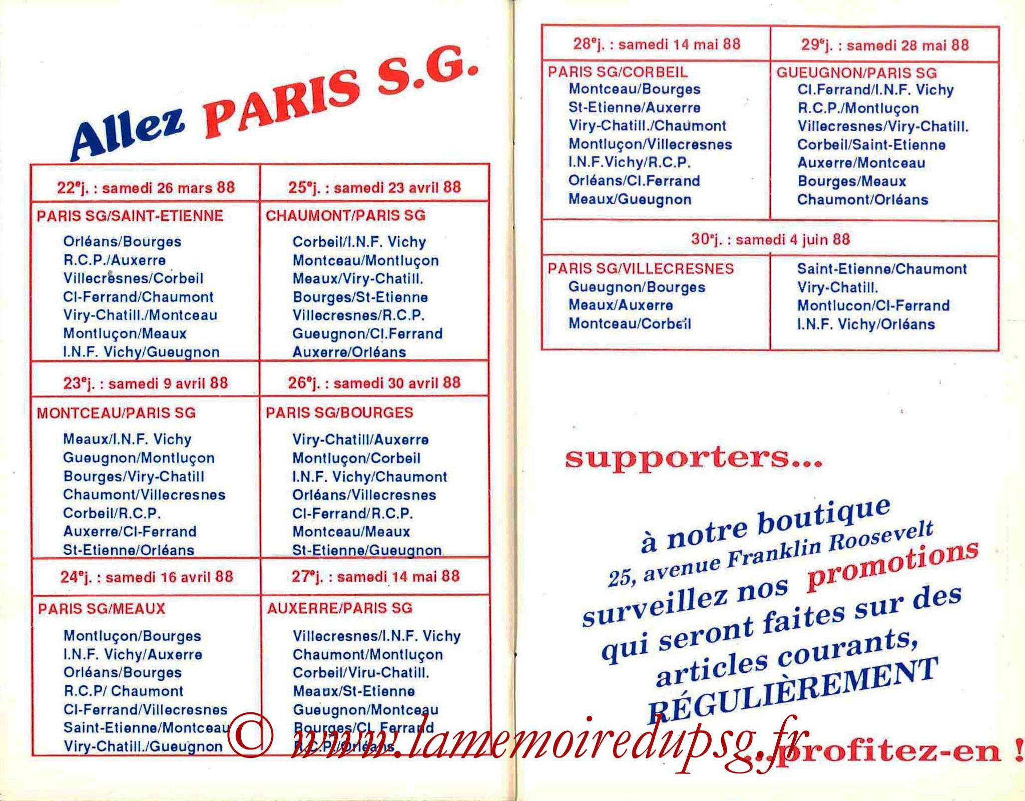 1987-88 - Guide de la Saison PSG - Pages 30 et 31