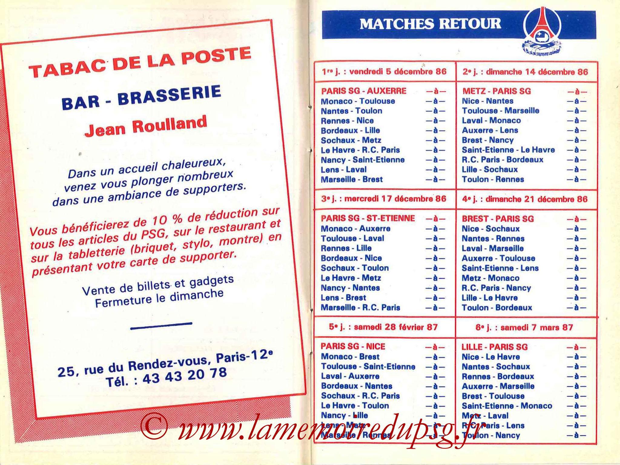 1986-87 - Guide de la Saison PSG - Pages 8 et 9