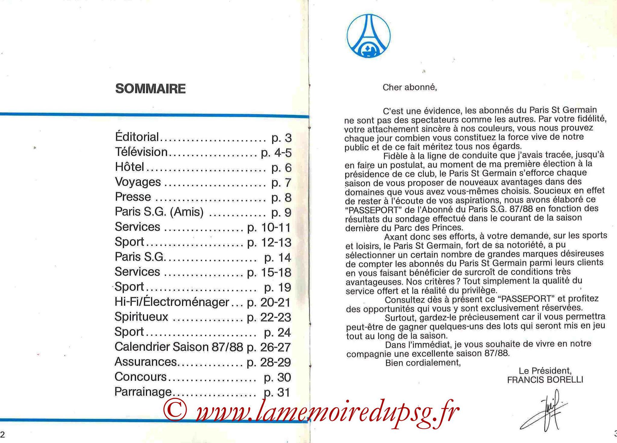 1987-88 - Passeport Abonné du PSG - Pages 2 et 3