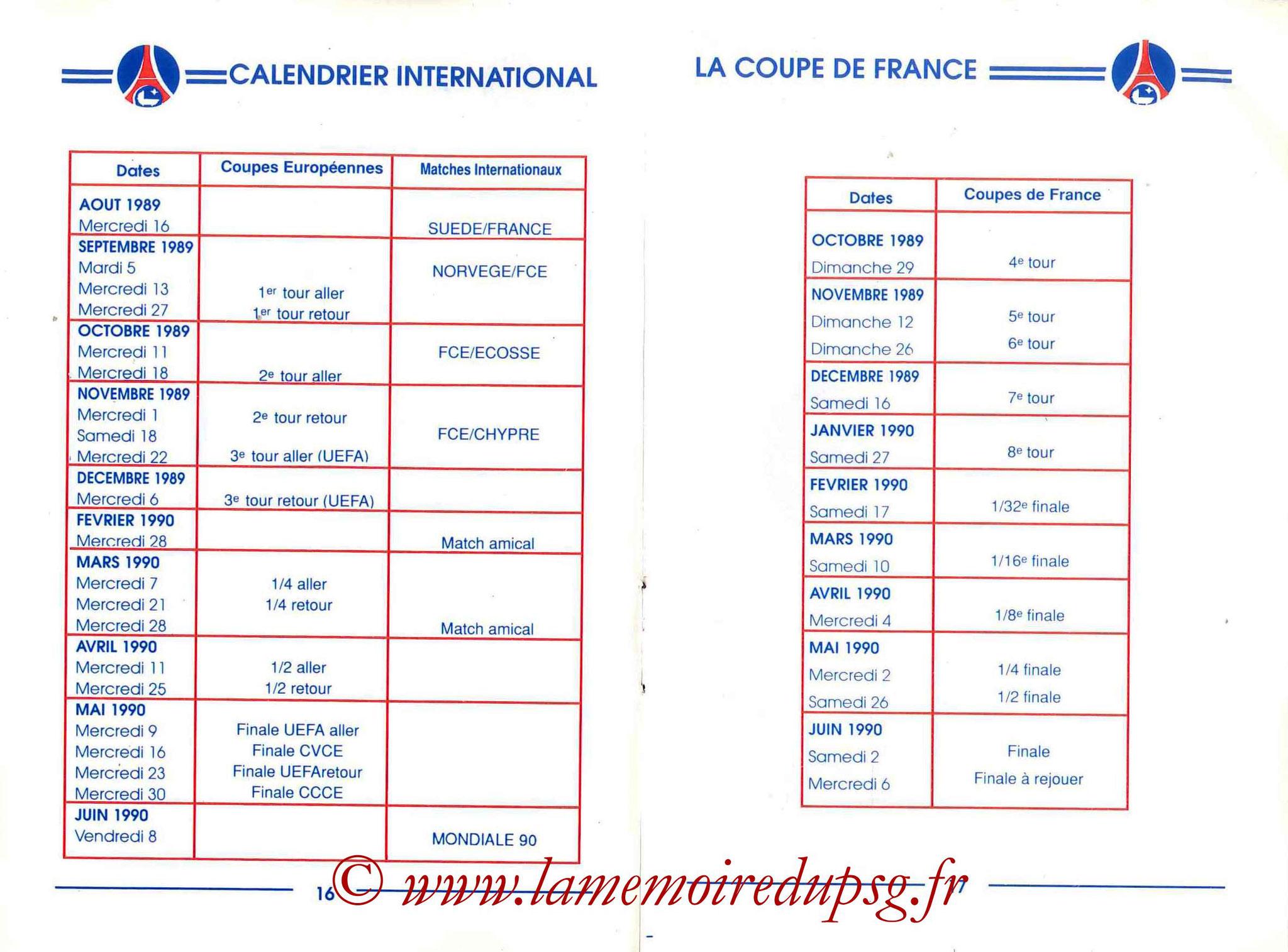 1989-90 - Guide de la Saison PSG - Pages 16 et 17