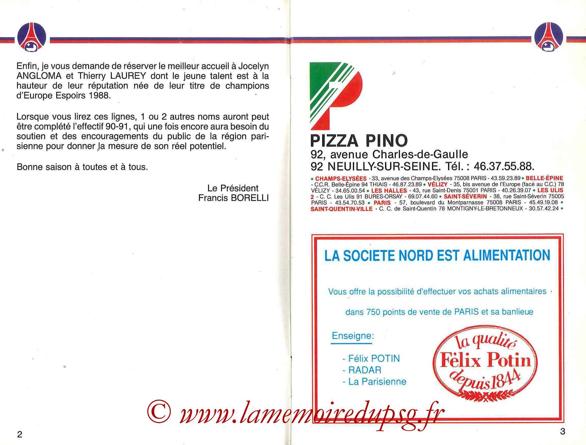 1990-91 - Guide de la Saison PSG - Pages 2 et 3