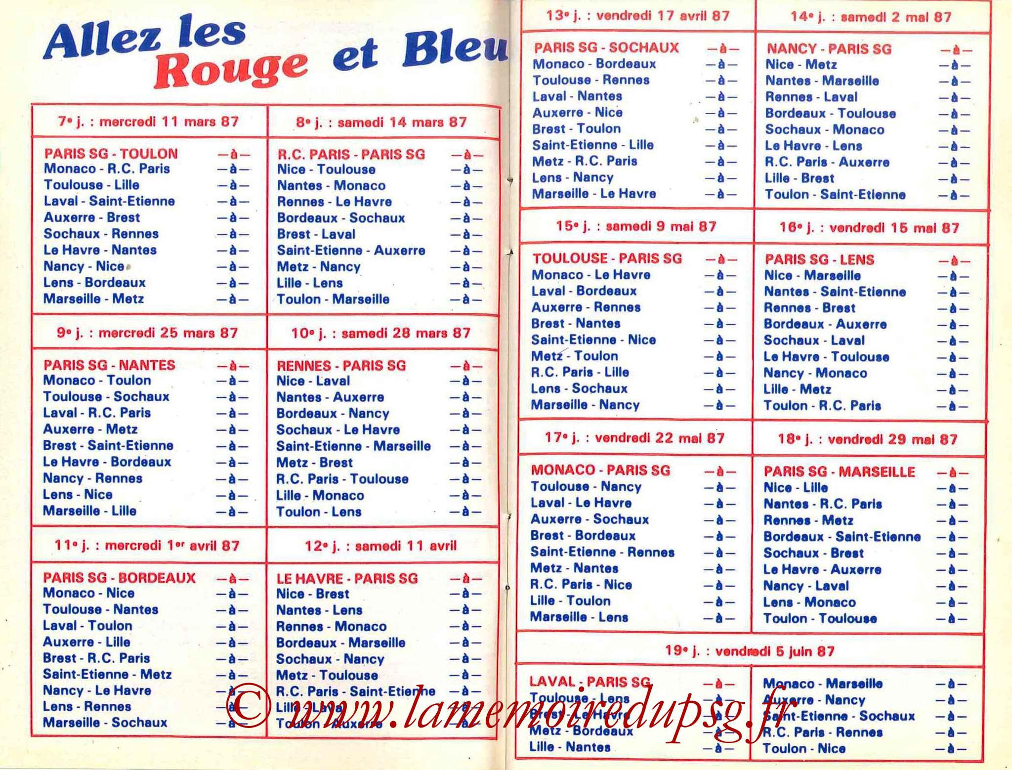 1986-87 - Guide de la Saison PSG - Pages 10 et 11