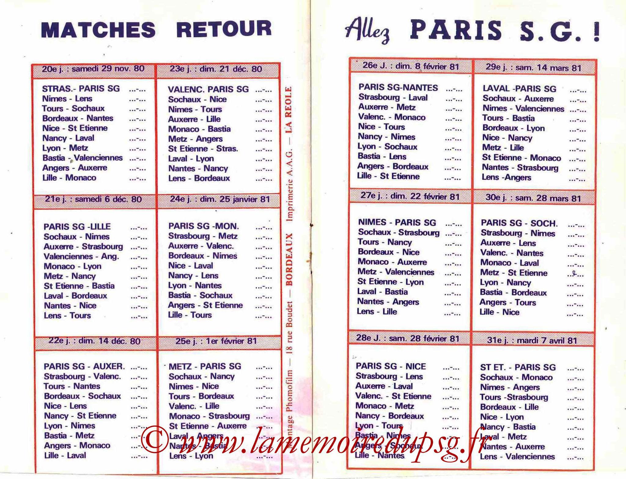 1980-81 - Guide de la Saison PSG - Pages 10 et 11