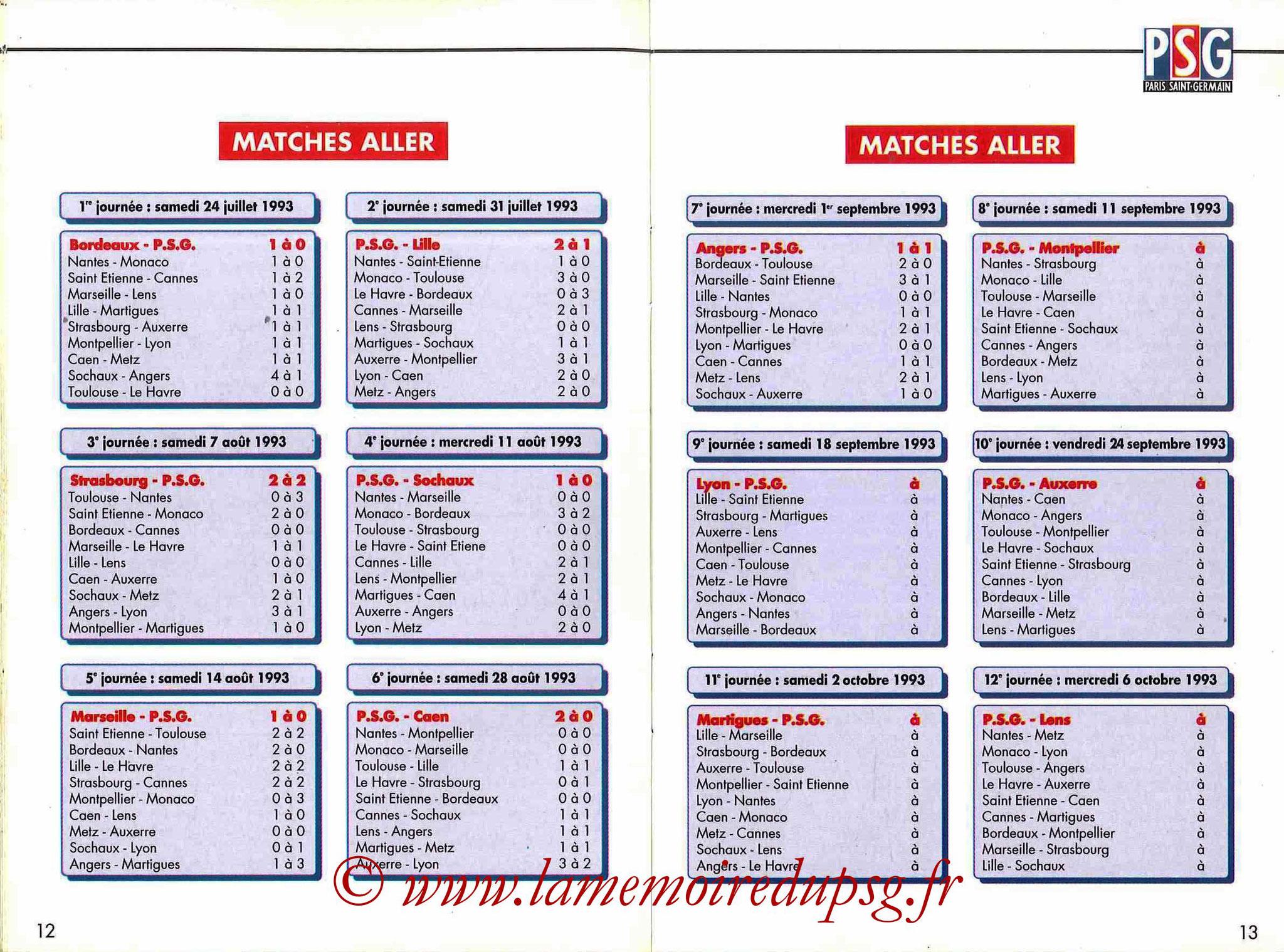 1993-94 - Guide de la Saison PSG - Pages 12 et 13