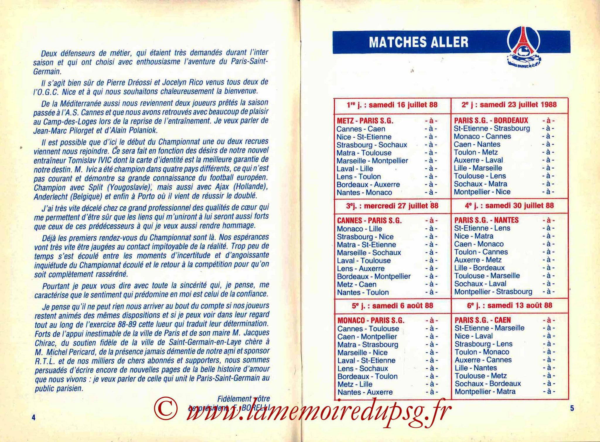 1988-89 - Guide de la Saison PSG - Pages 4 et 5