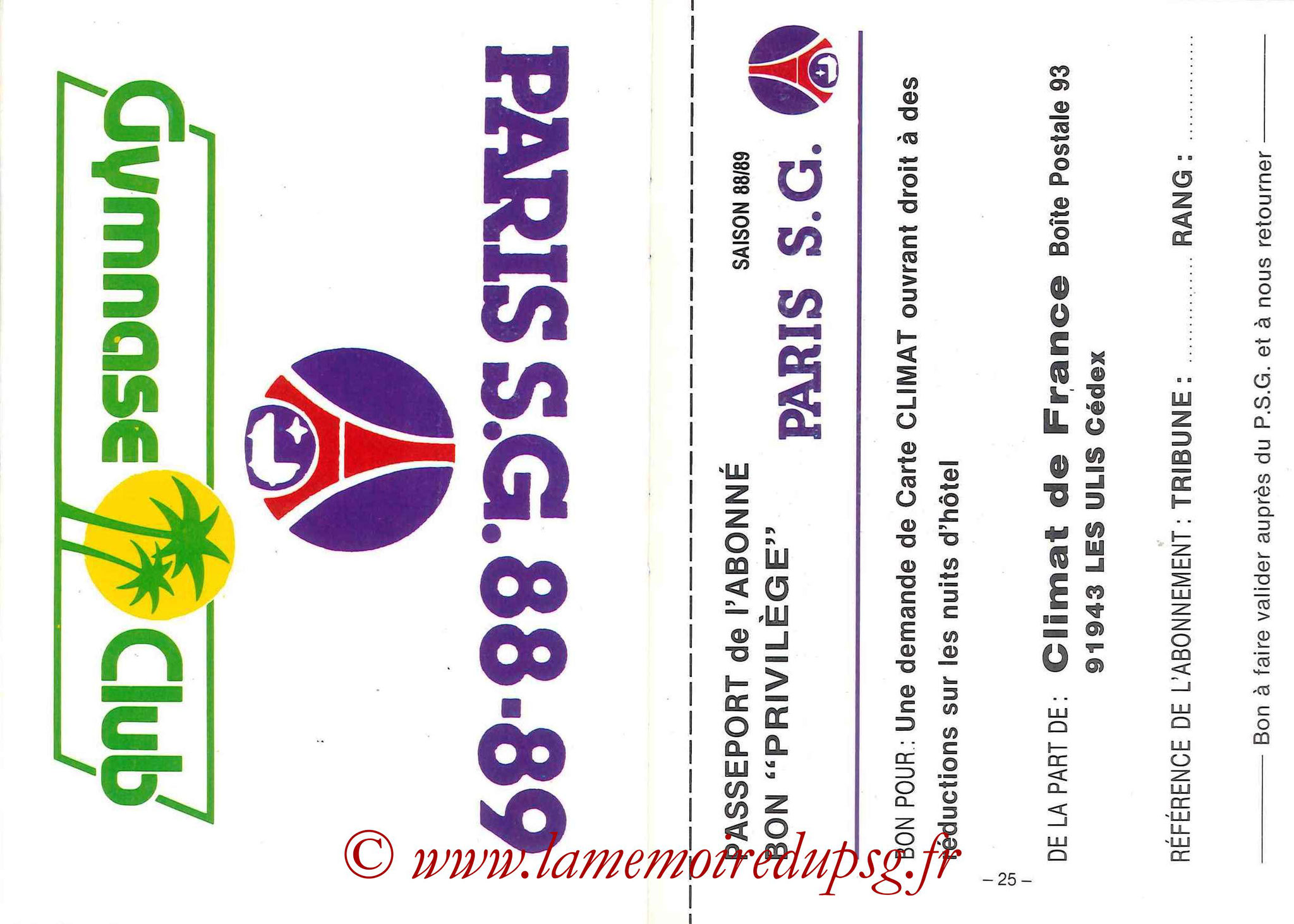 1988-89 - Passeport Abonné du PSG - Pages 24 et 25