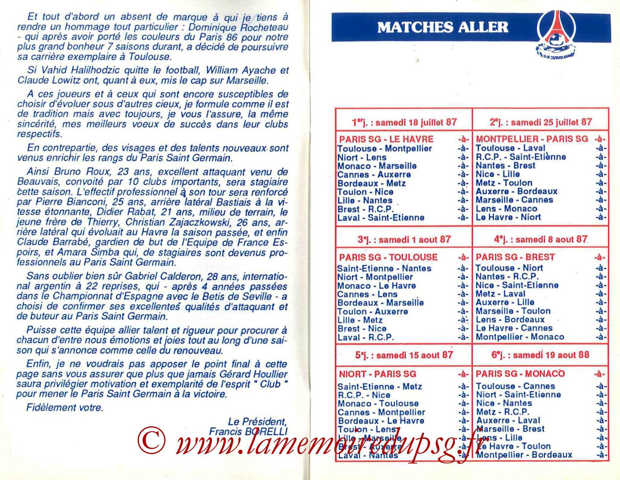 1987-88 - Guide de la Saison PSG - Pages 4 et 5