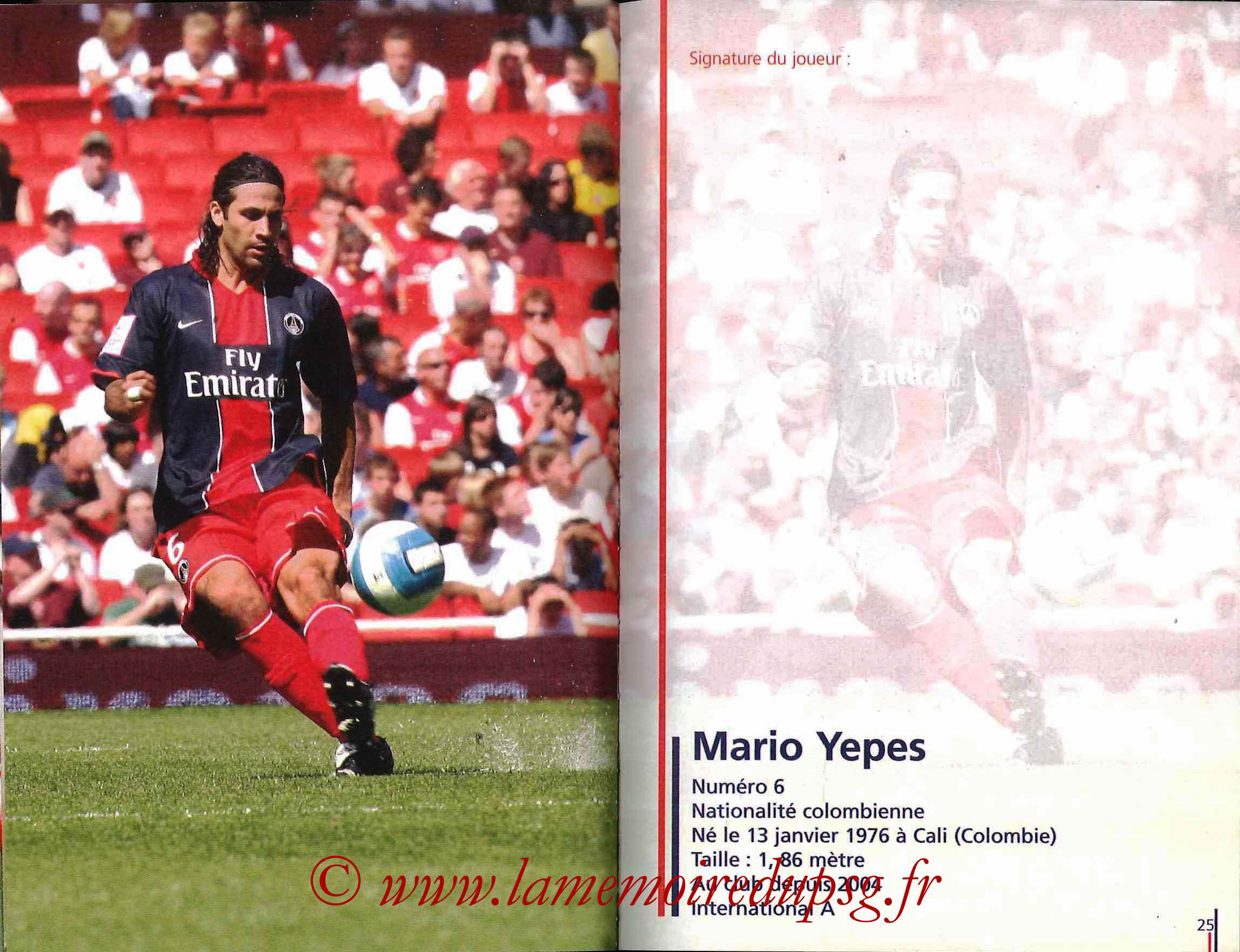 2007-08 - Guide de la Saison PSG - Pages 24 et 25 - Mario YEPES