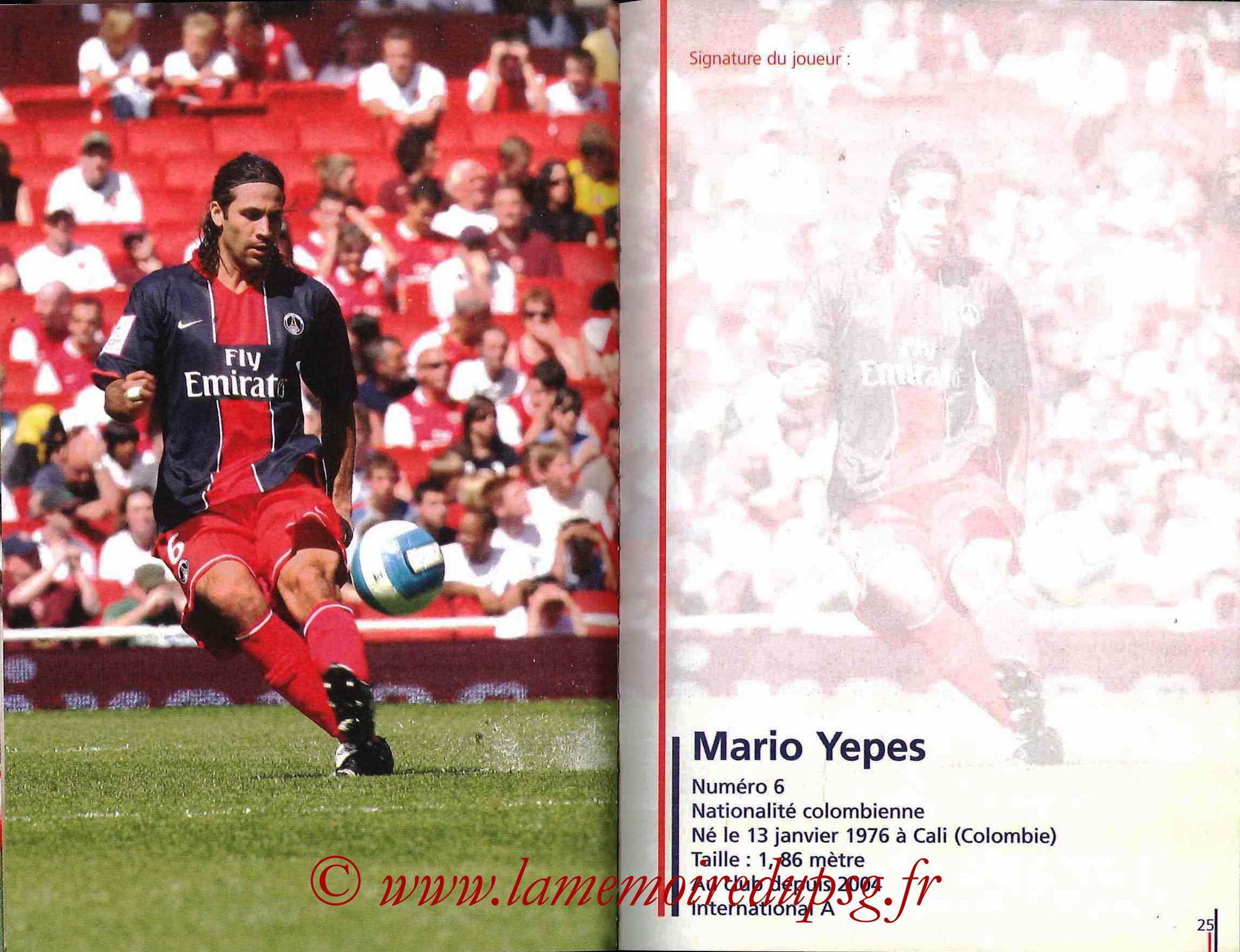 2007-08 - Guide de la Saison PSG - Pages 24 et 25 - Mario YEPES