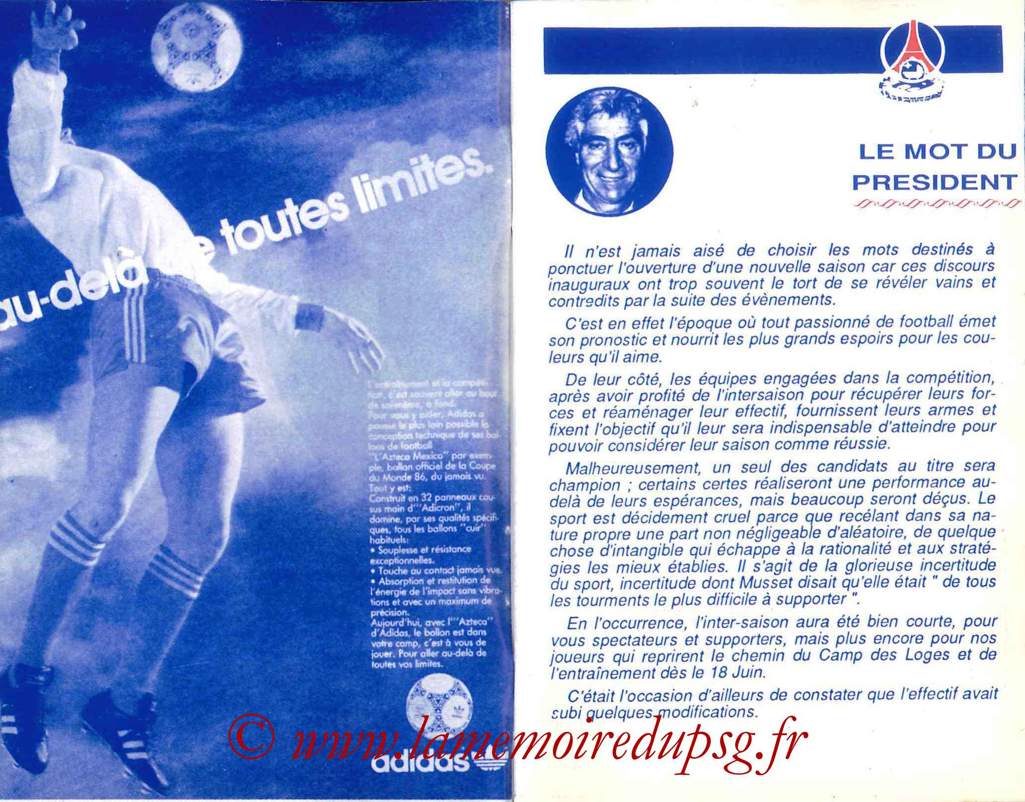 1987-88 - Guide de la Saison PSG - Pages 2 et 3