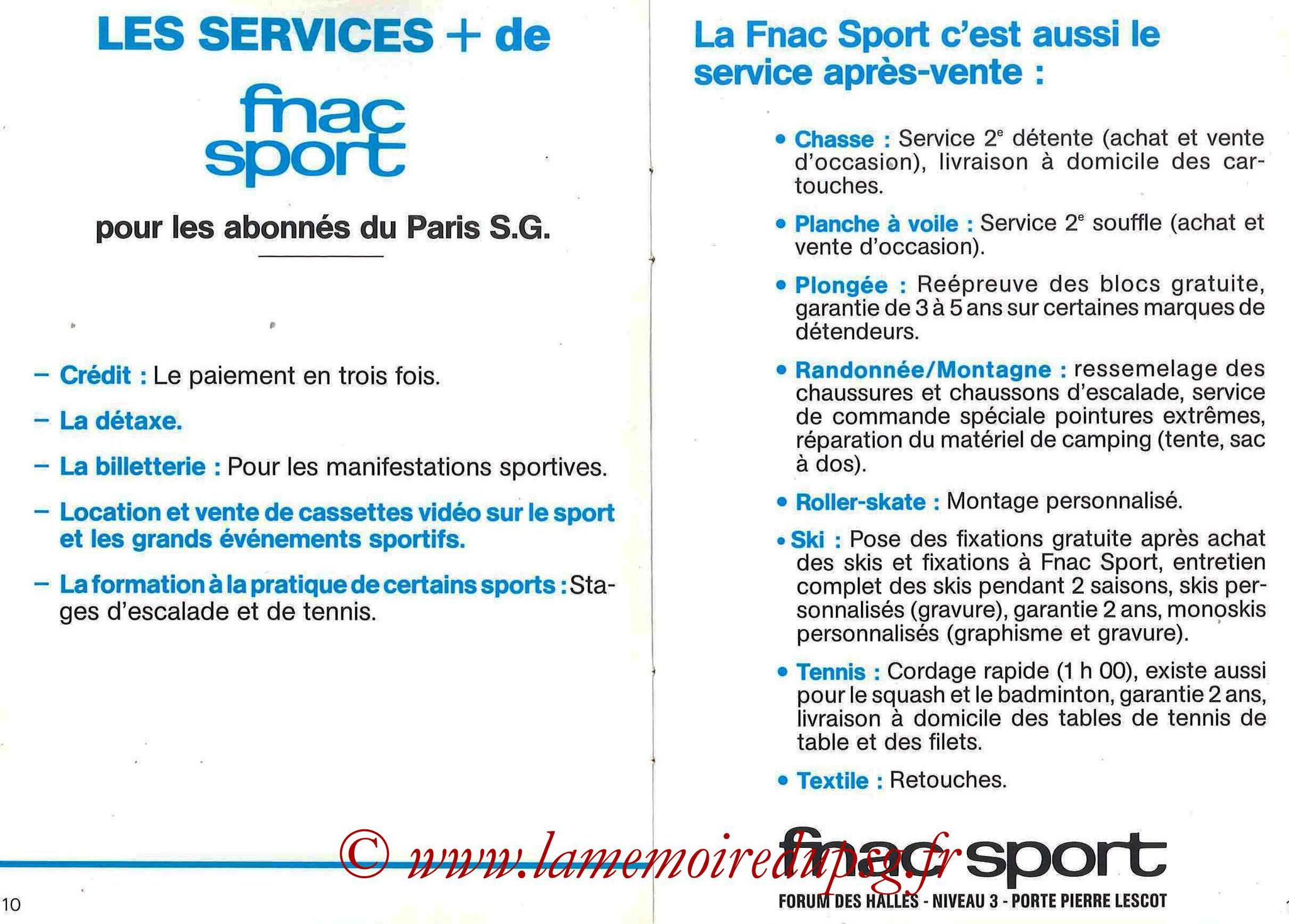 1987-88 - Passeport Abonné du PSG - Pages 10 et 11