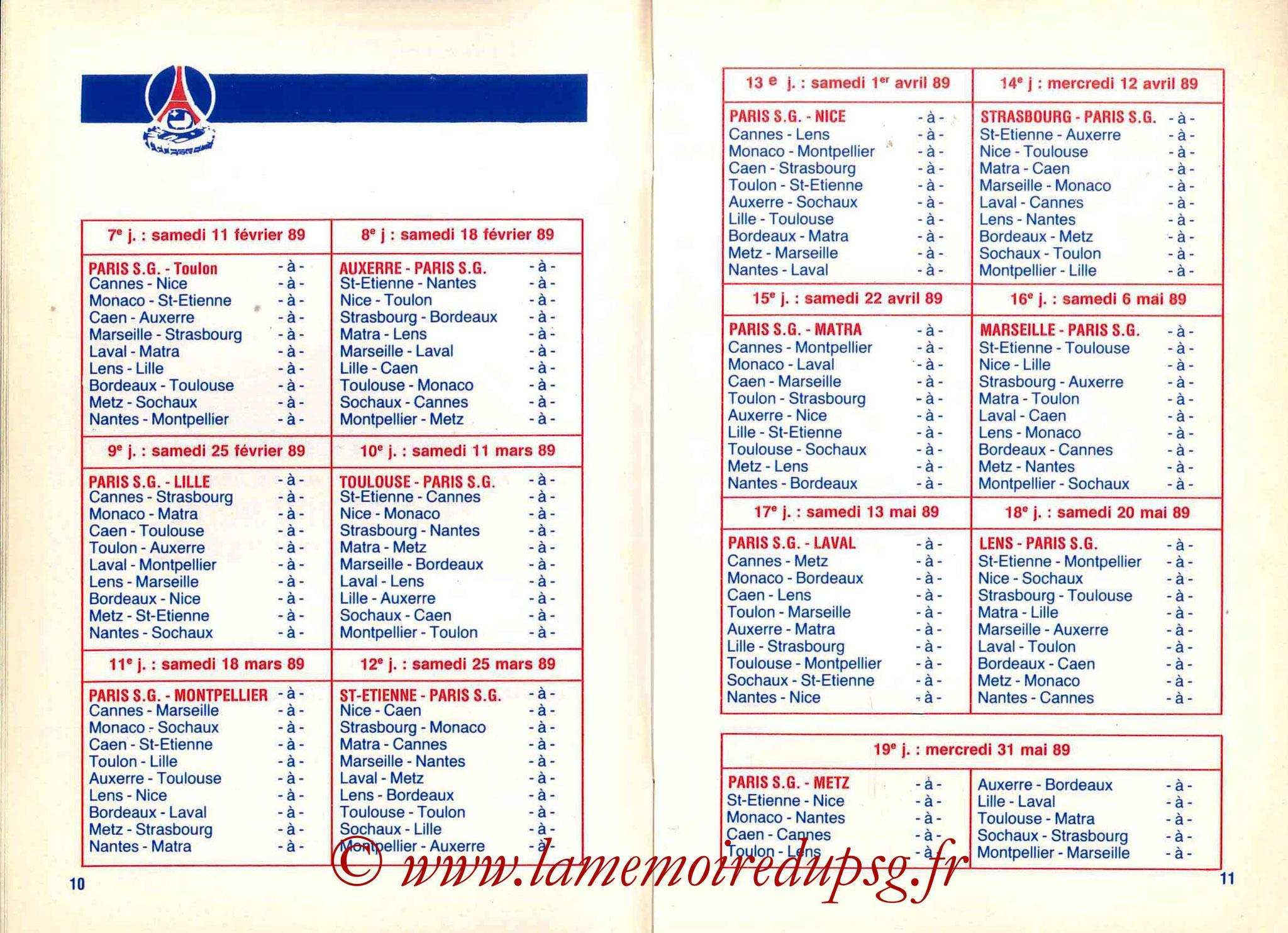 1988-89 - Guide de la Saison PSG - Pages 10 et 11