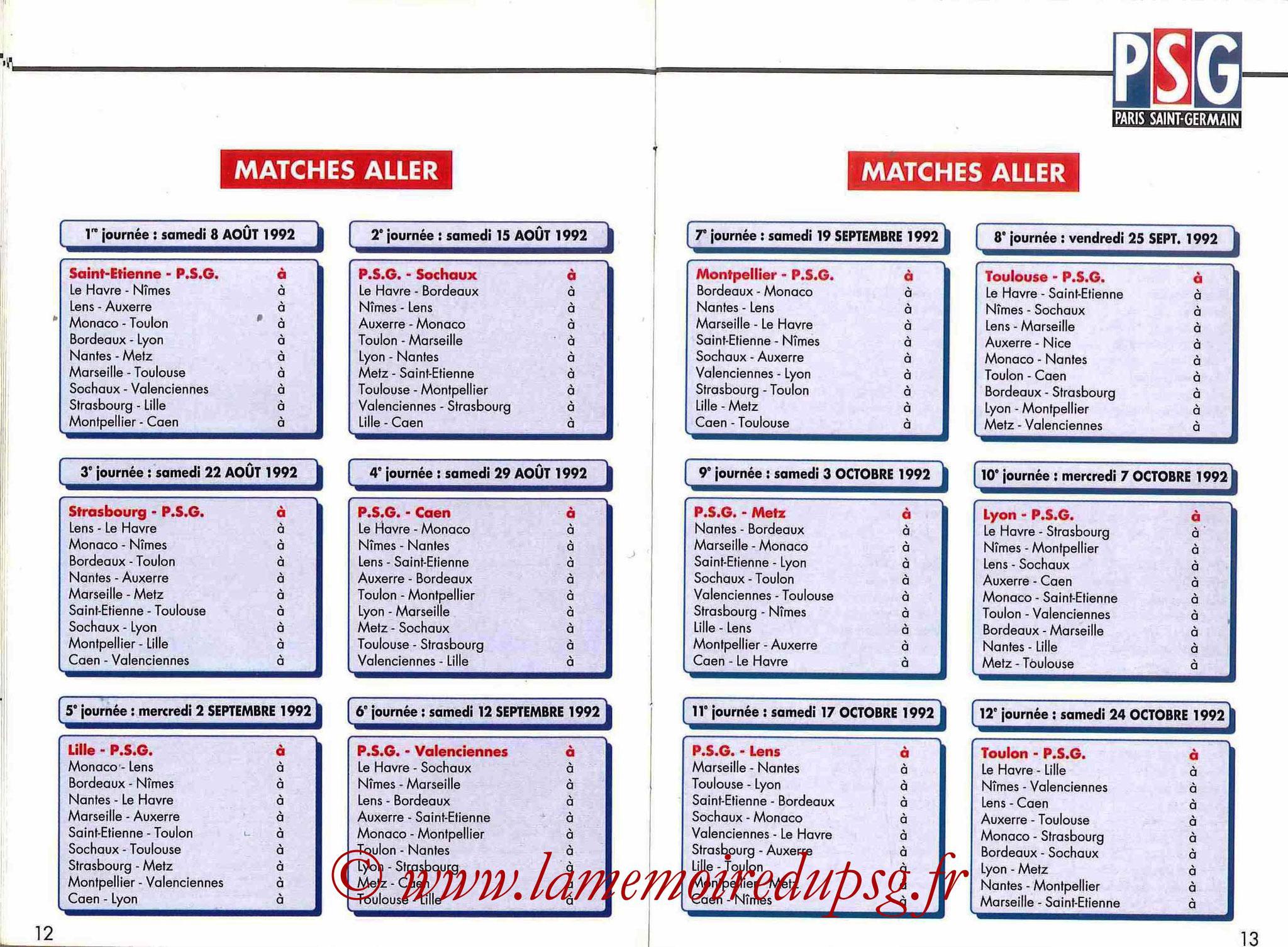 1992-93 - Guide de la Saison PSG - Pages 12 et 13