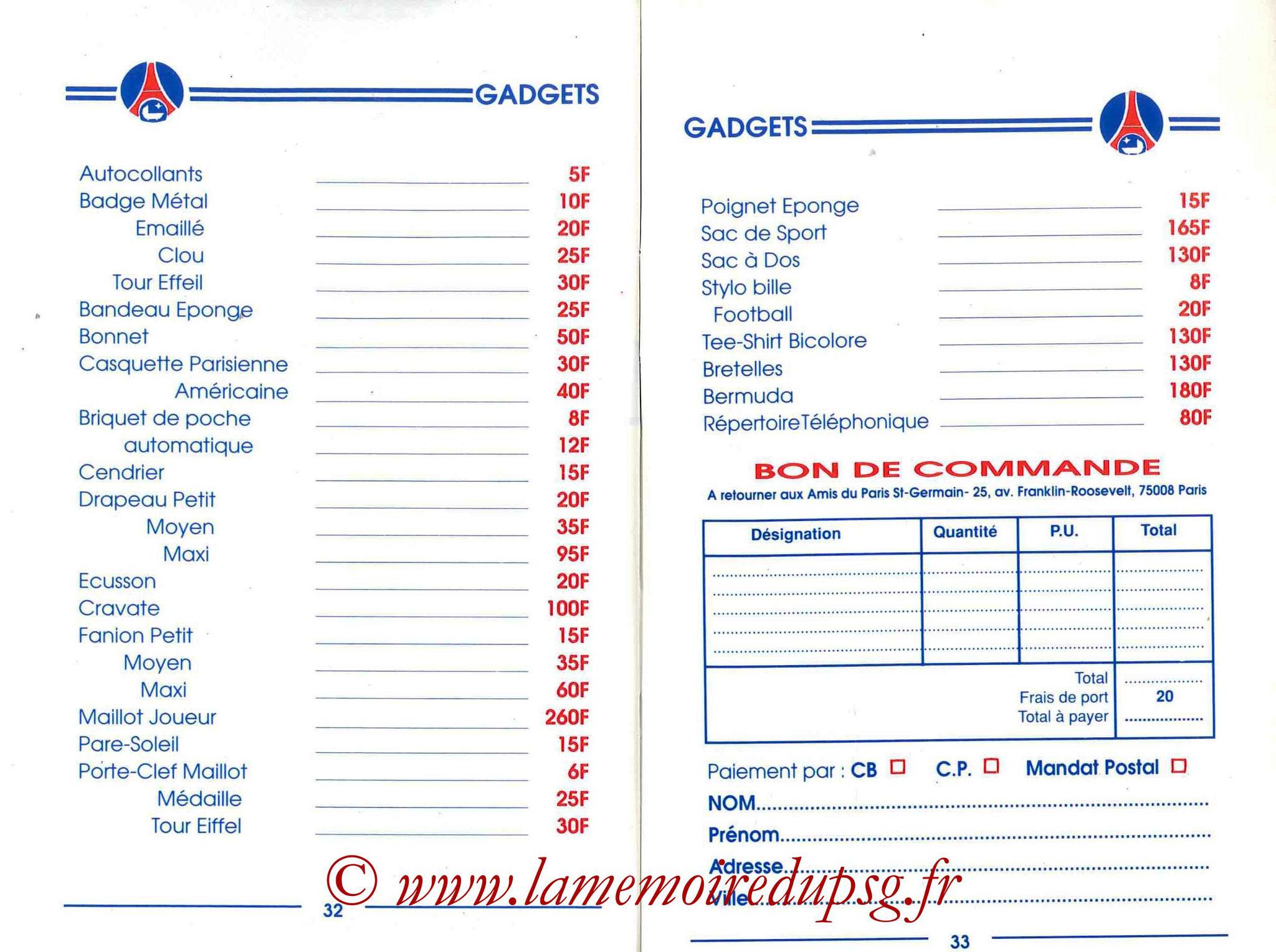 1989-90 - Guide de la Saison PSG - Pages 32 et 33