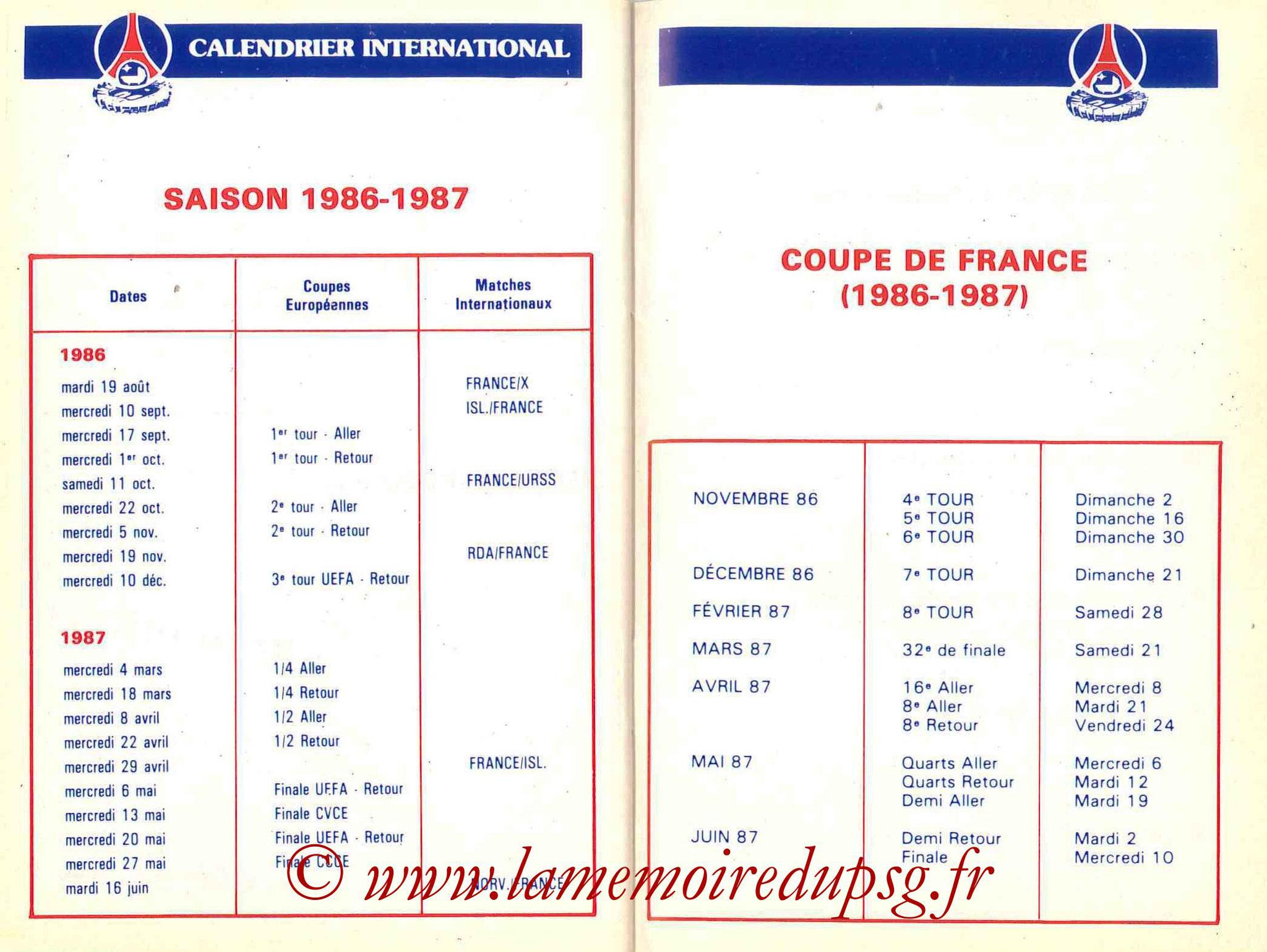 1986-87 - Guide de la Saison PSG - Pages 32 et 33