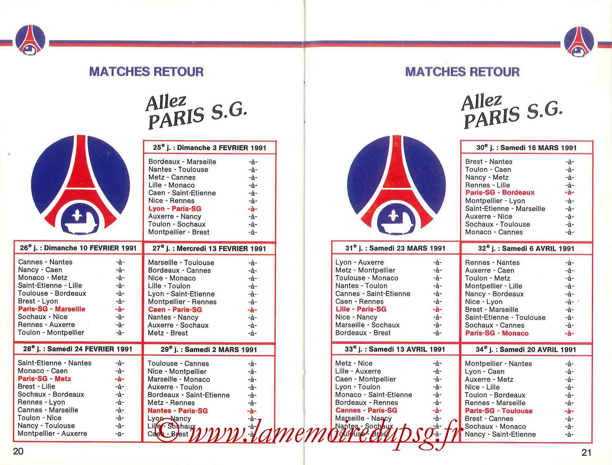 1990-91 - Guide de la Saison PSG - Pages 20 et 21
