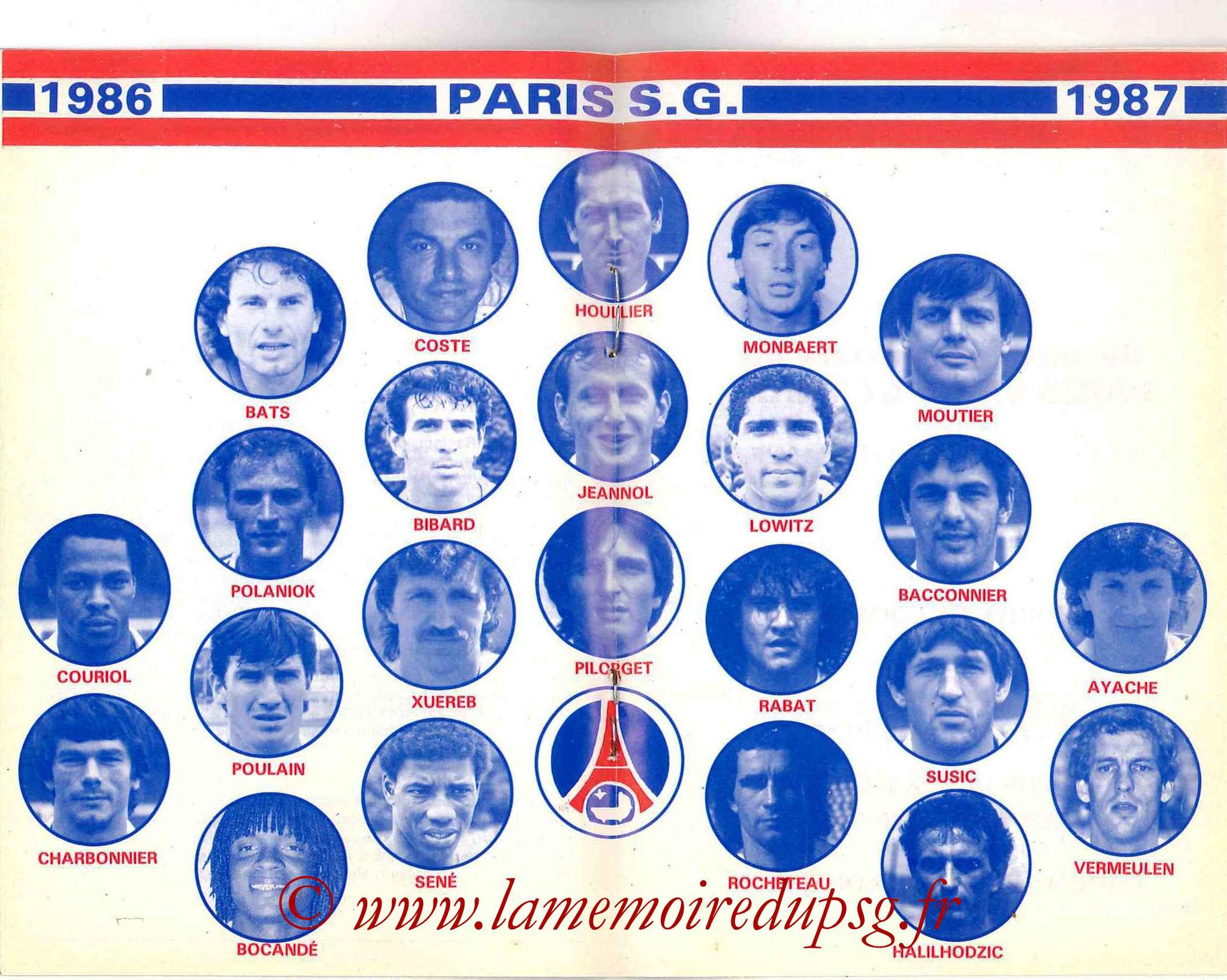 1986-87 - Guide de la Saison PSG - Pages 18 et 19