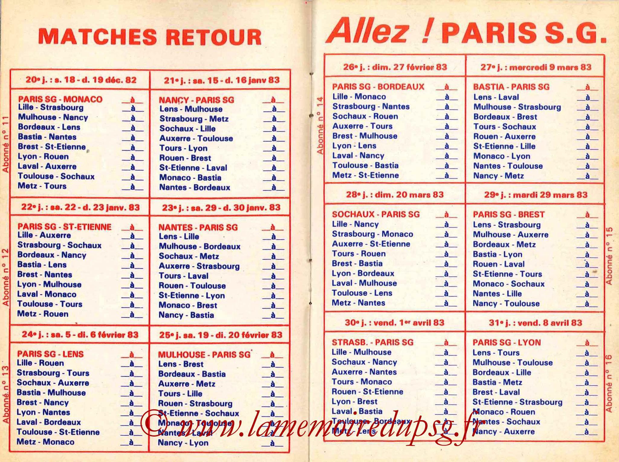 1982-83 - Guide de la Saison PSG - Pages 8 et 9
