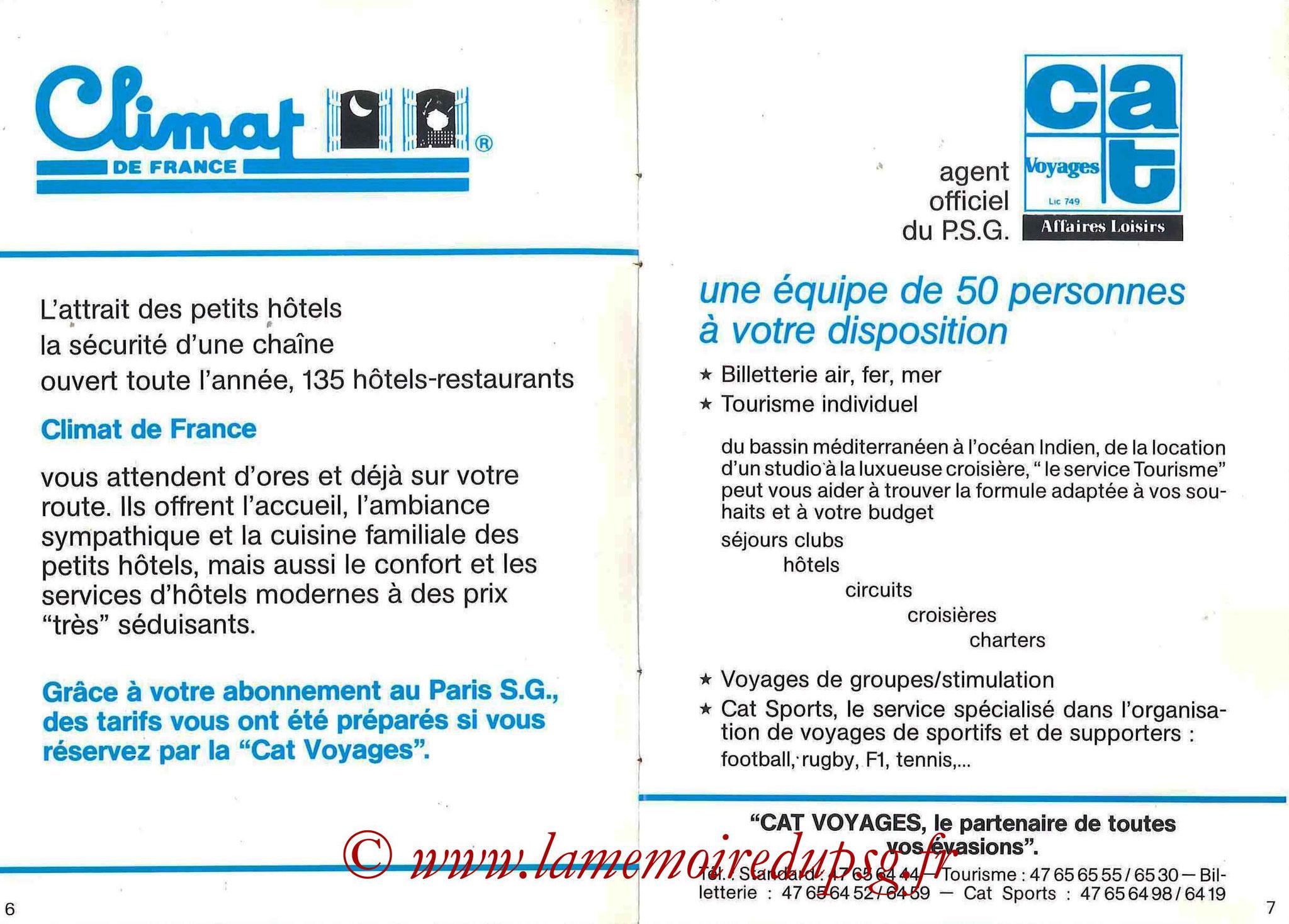 1987-88 - Passeport Abonné du PSG - Pages 6 et 7