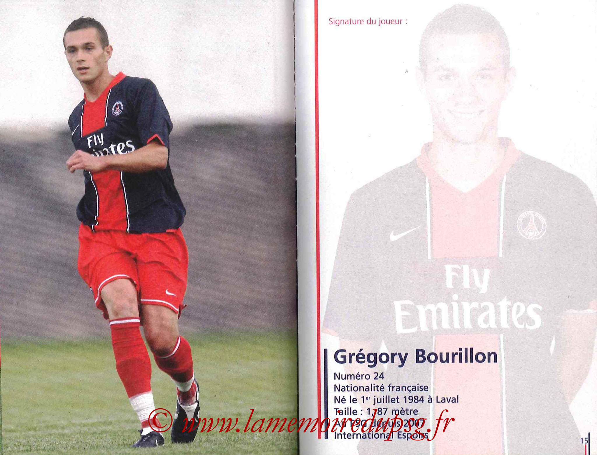 2007-08 - Guide de la Saison PSG - Pages 14 et 15 - Grégory BOURILLON