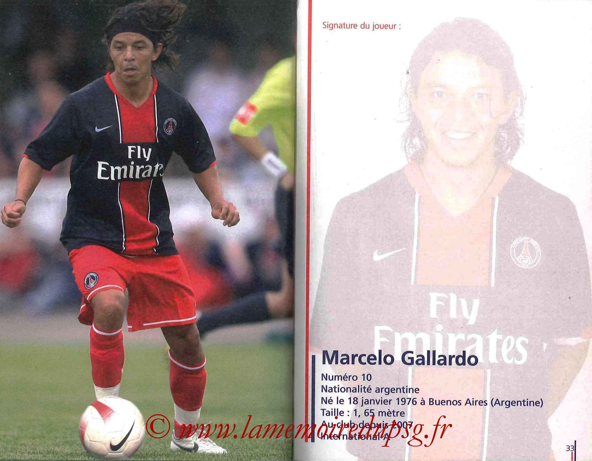 2007-08 - Guide de la Saison PSG - Pages 32 et 33 - Marcelo GALLARDO