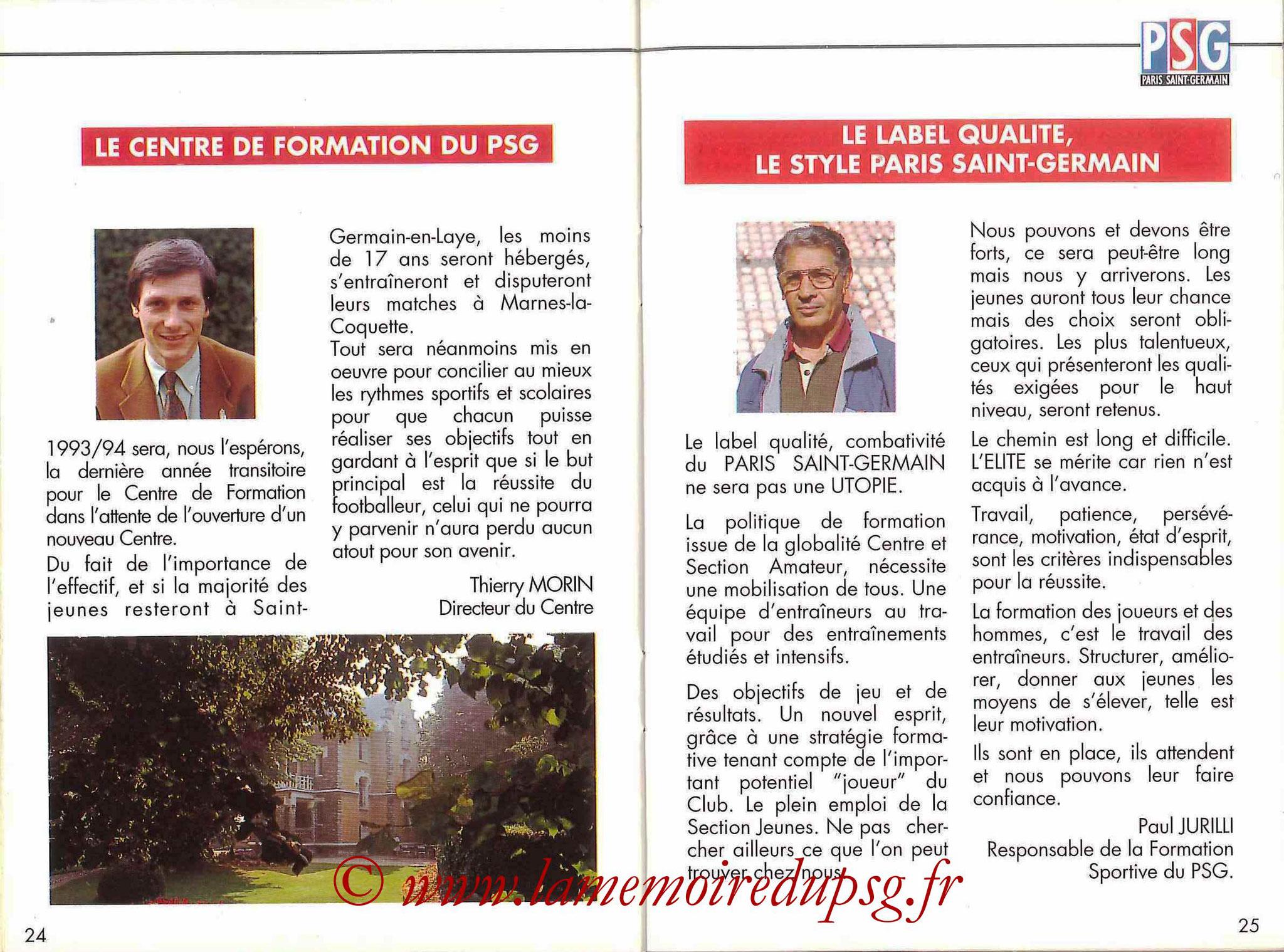 1993-94 - Guide de la Saison PSG - Pages 24 et 25