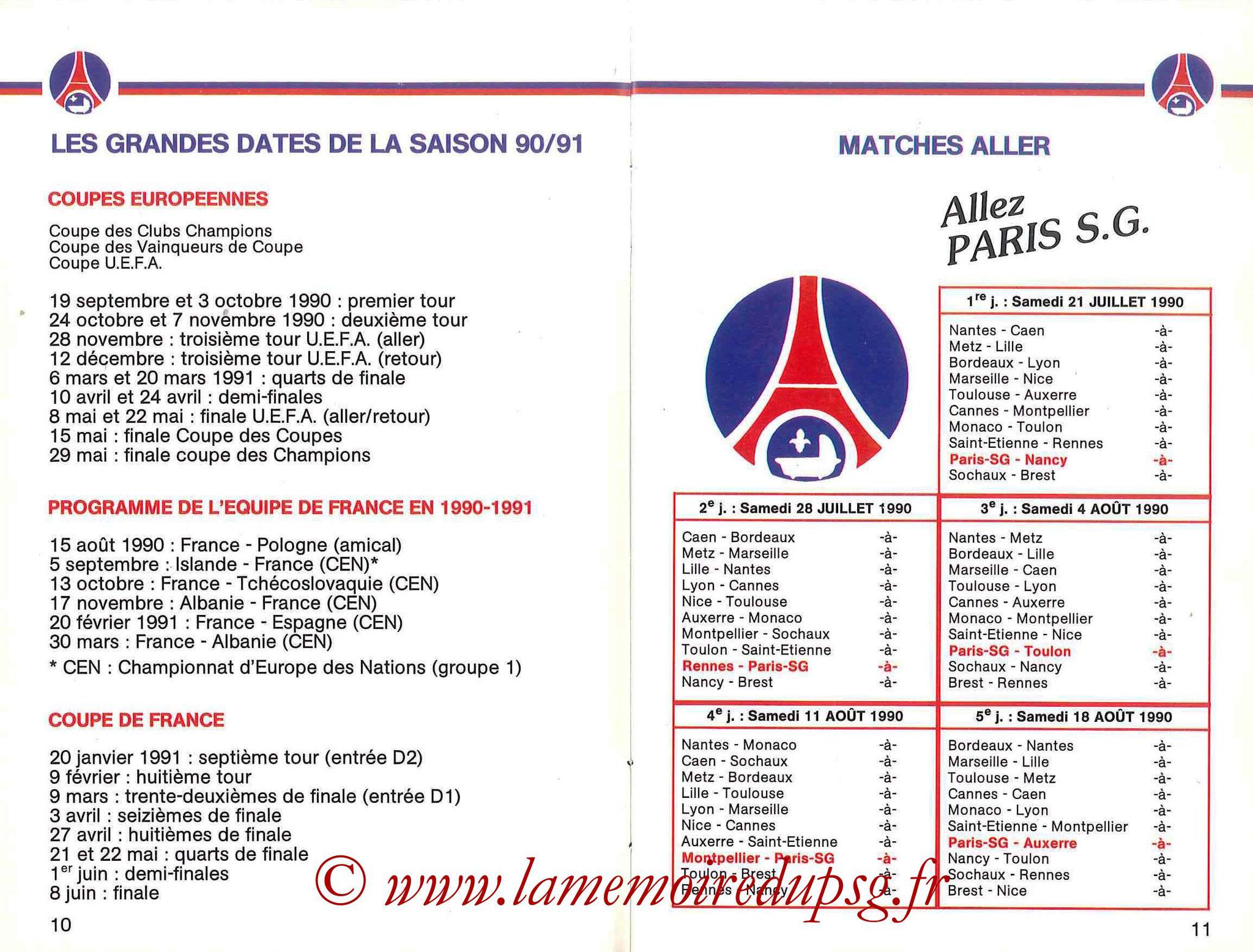 1990-91 - Guide de la Saison PSG - Pages 10 et 11